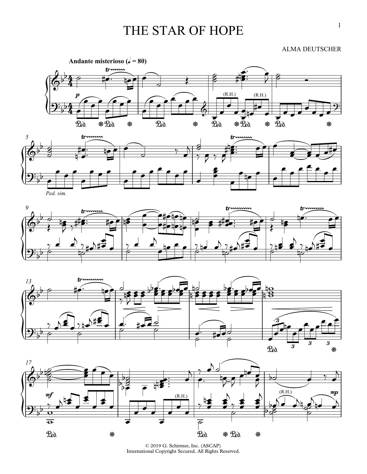 Partition piano The Star Of Hope (from Cinderella) de Alma Deutscher - Piano Solo