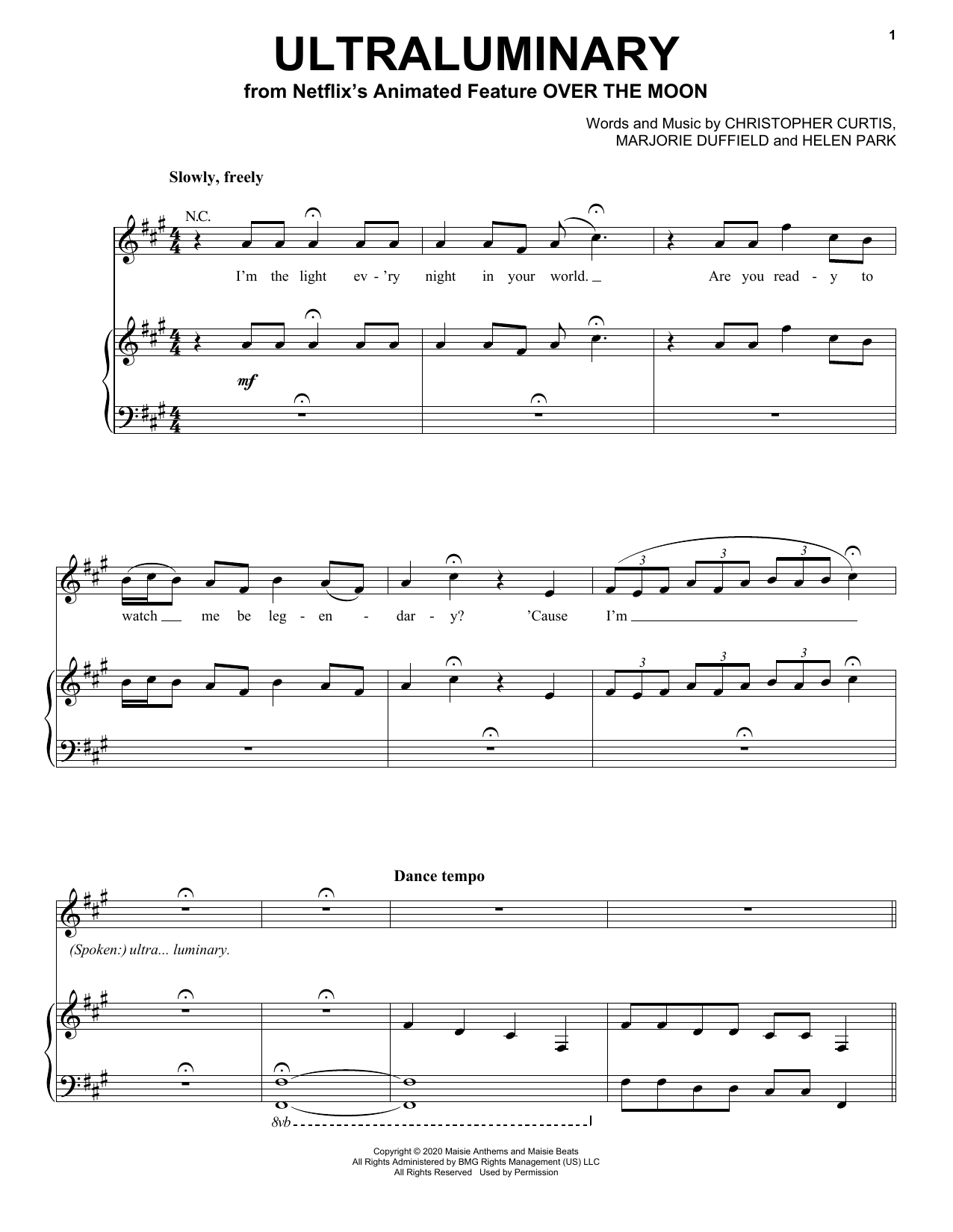 Partition piano Ultraluminary (from Over The Moon) de Phillipa Soo - Piano Voix Guitare (Mélodie Main Droite)