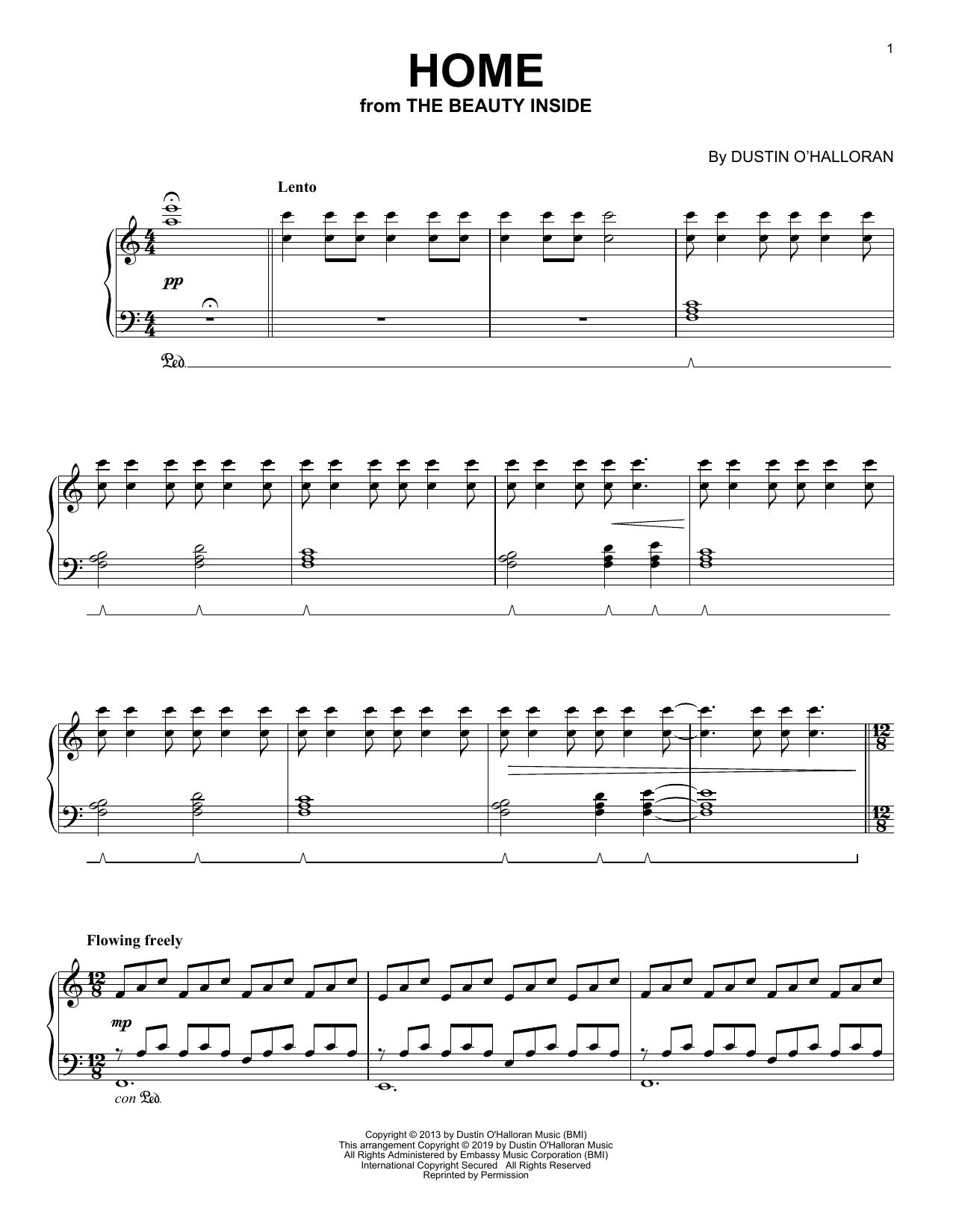 Partition piano Home (from The Beauty Inside) de Dustin O'Halloran - Piano Solo