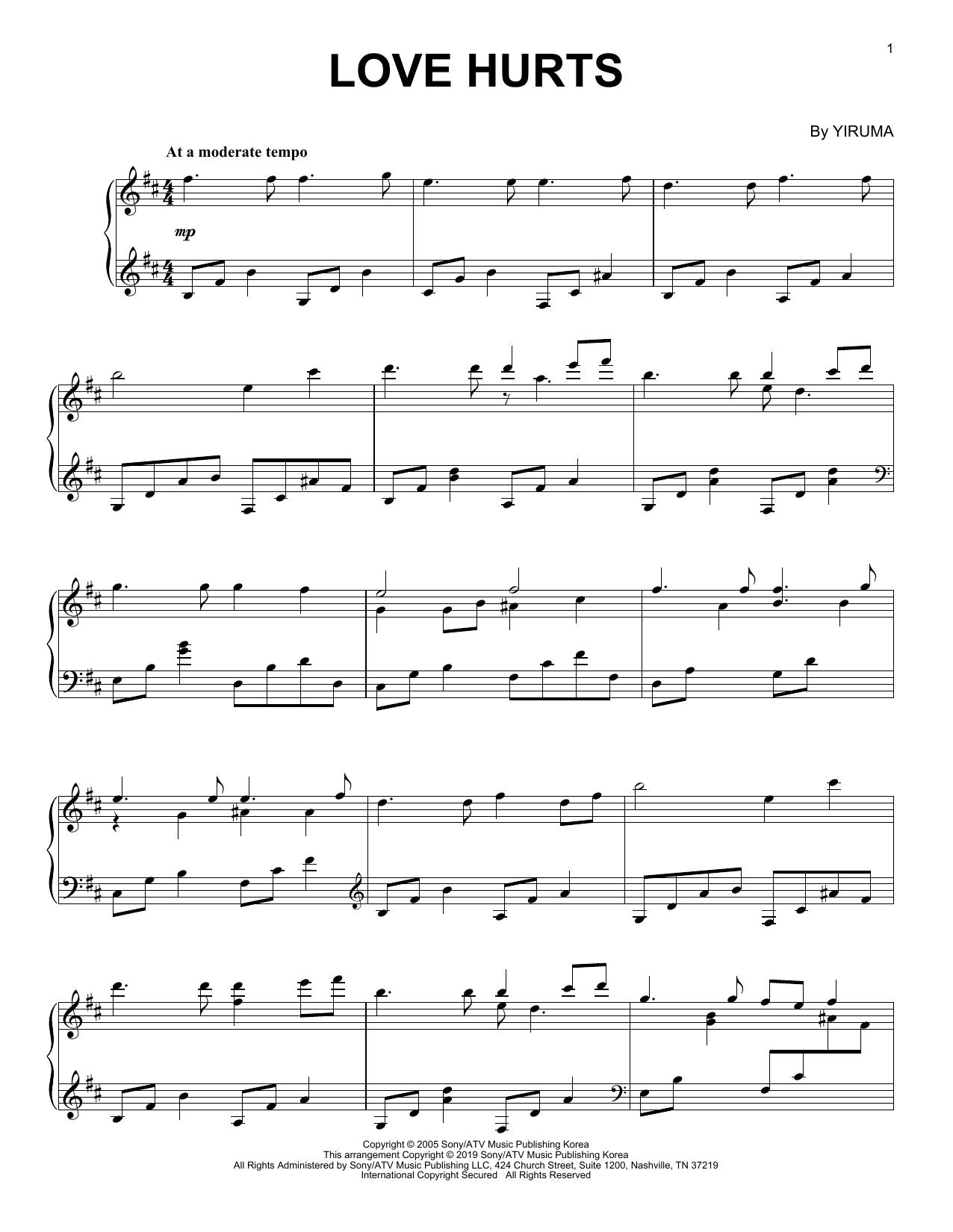 Partition piano Love Hurts de Yiruma - Piano Solo