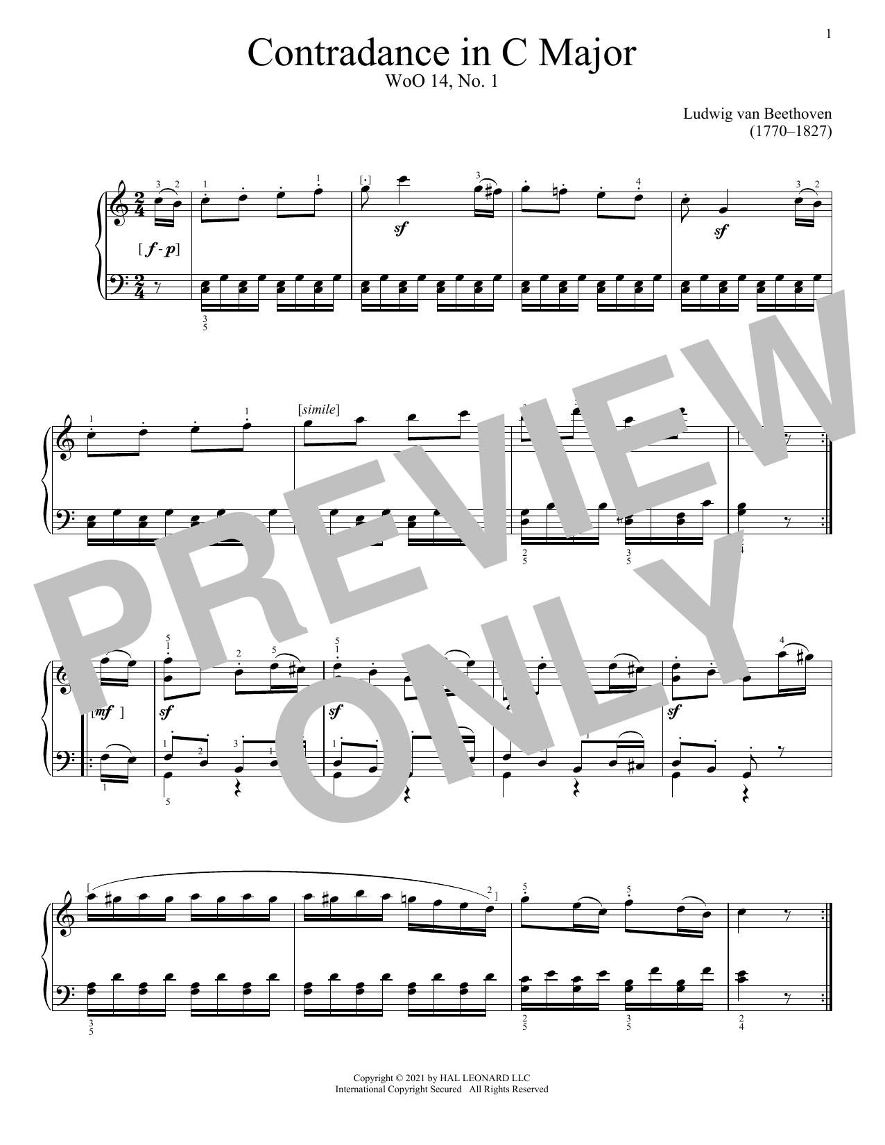 Partition piano Contredance In C Major, WoO 14, No. 1 de Ludwig van Beethoven - Piano Solo