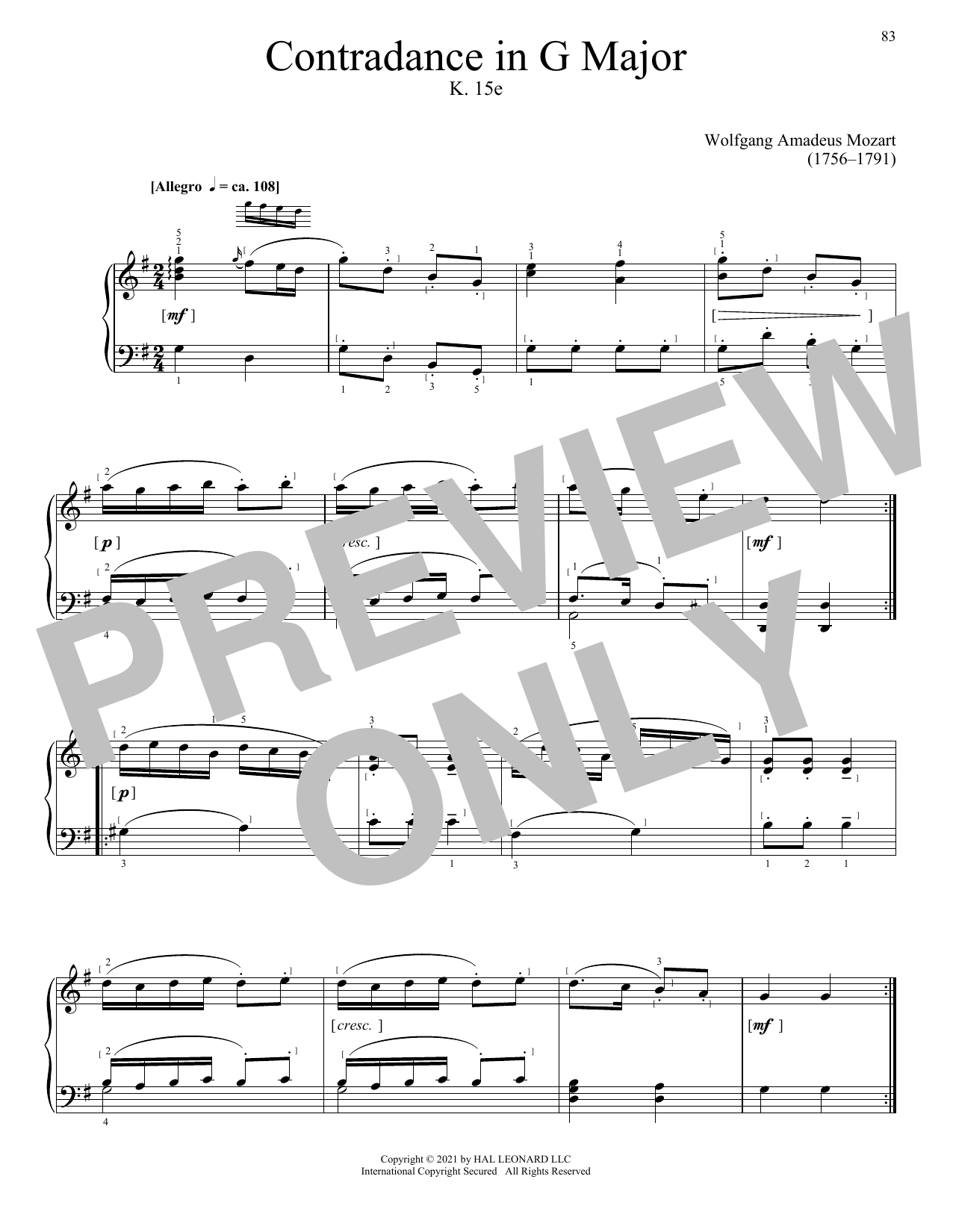 Partition piano Contradance In G Major, K. 15e de Wolfgang Amadeus Mozart - Piano Solo