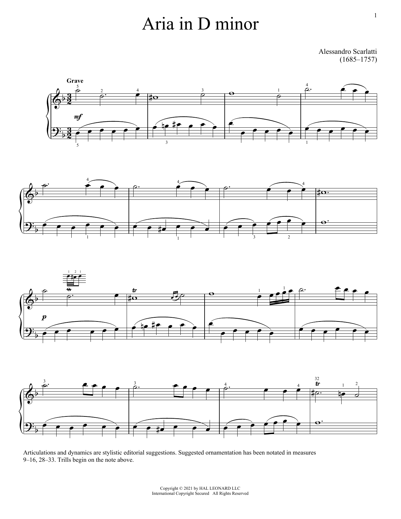 Partition piano Aria de Alessandro Scarlatti - Piano Solo