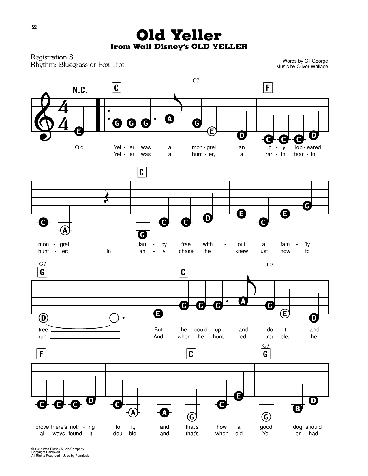 Old Yeller (from Walt Disney's Old Yeller) Sheet Music