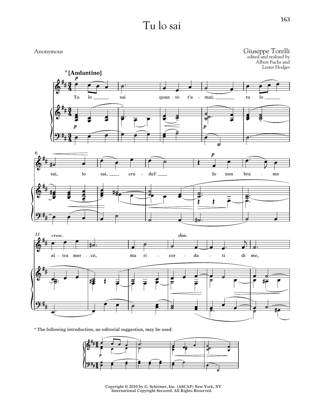 Partition piano Tu Lo Sai de Giuseppe Torelli - Piano Voix
