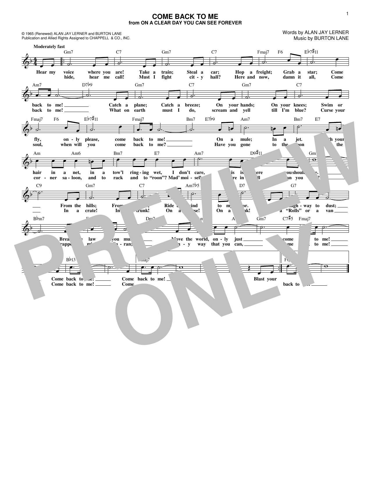 Come Back To Me (Lead Sheet / Fake Book)