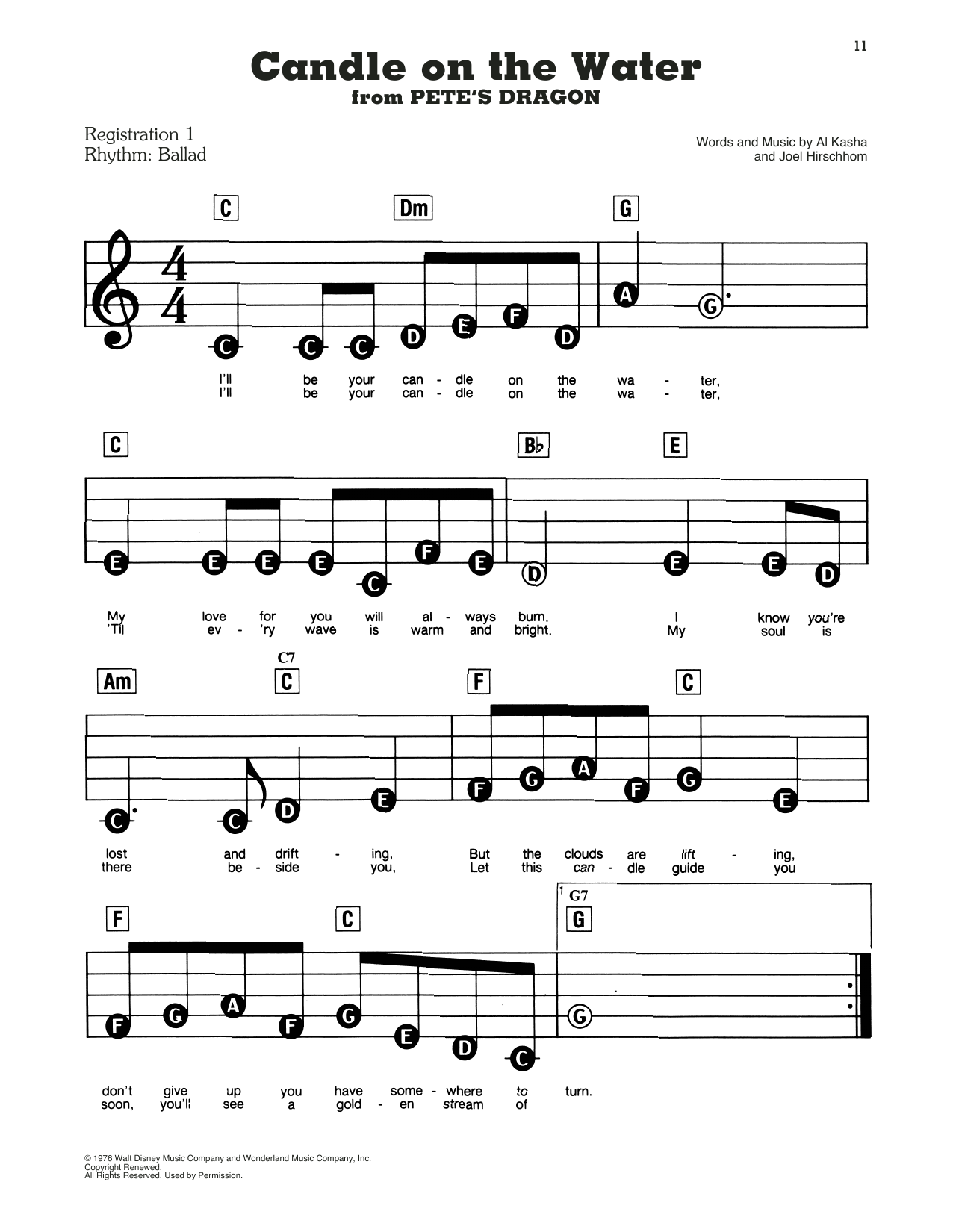 Candle On The Water (from Pete's Dragon) Sheet Music