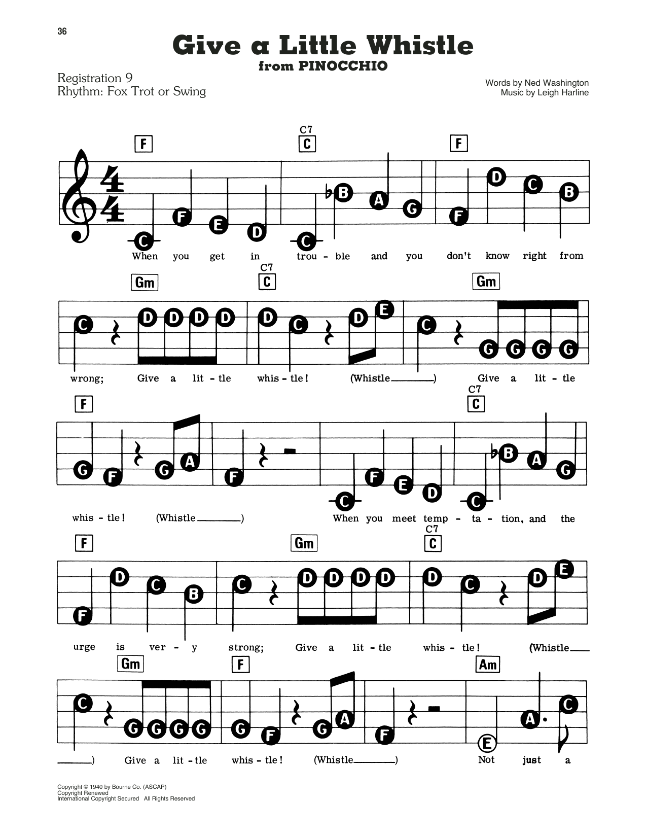 Give A Little Whistle (from Walt Disney's Pinocchio) Sheet Music