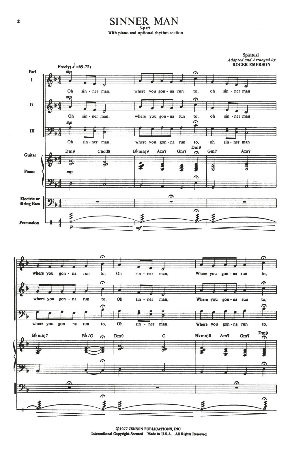 Partition chorale Sinner Man (arr. Roger Emerson) de Traditional Spiritual - 3 voix mixtes
