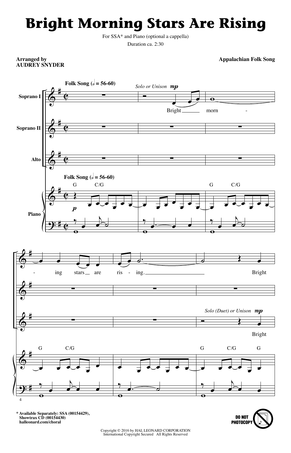 Partition chorale Bright Morning Stars Are Rising (arr. Audrey Snyder) de Appalachian Folk Song - SSA