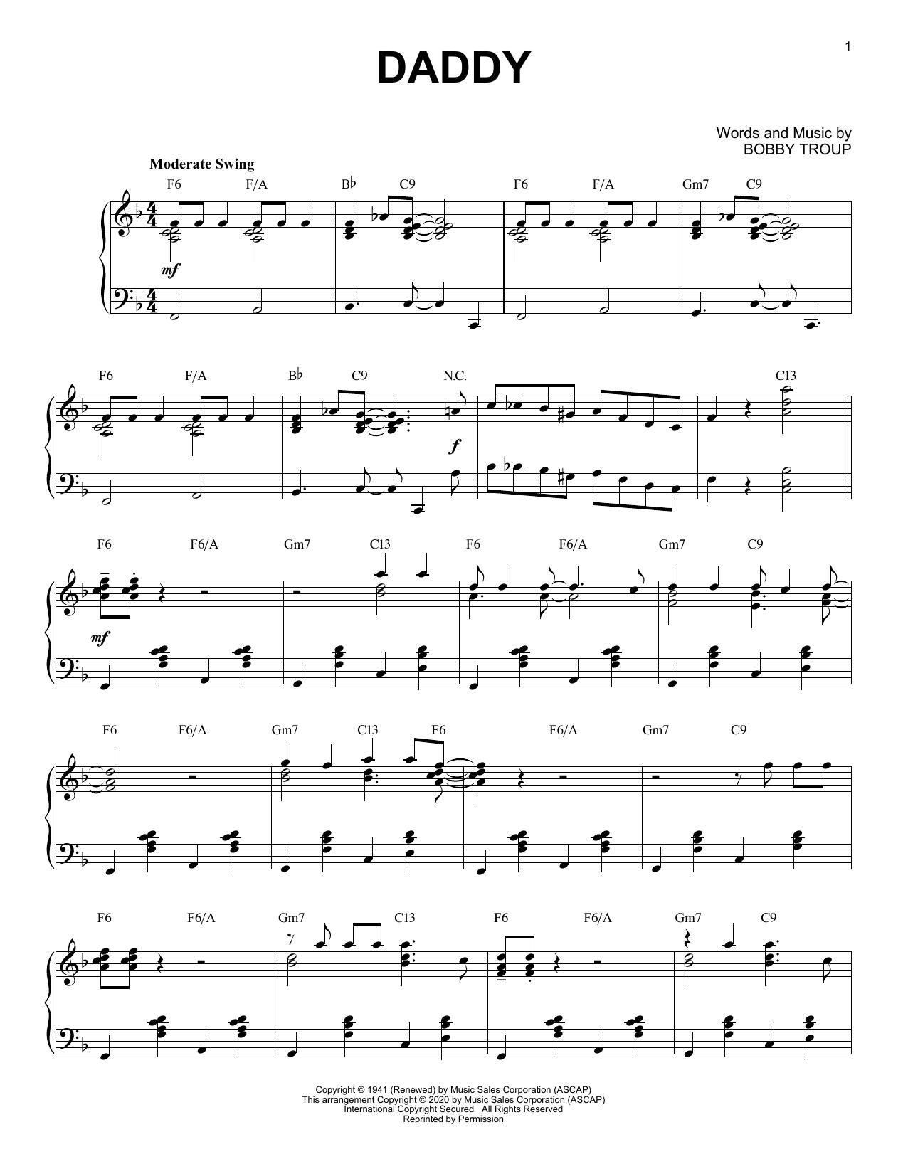 Partition piano Daddy [Jazz version] (arr. Brent Edstrom) de Sammy Kaye - Piano Solo