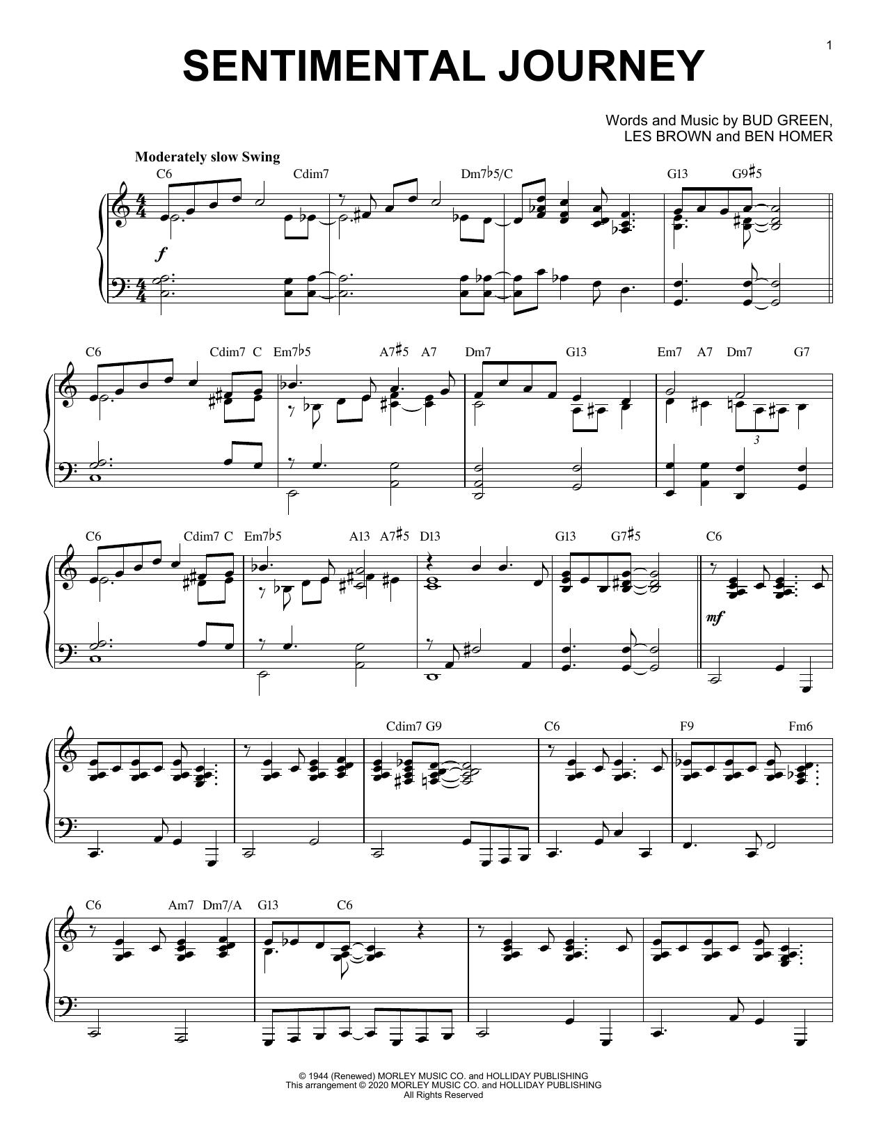 Partition piano Sentimental Journey [Jazz version] (arr. Brent Edstrom) de Bud Green - Piano Solo