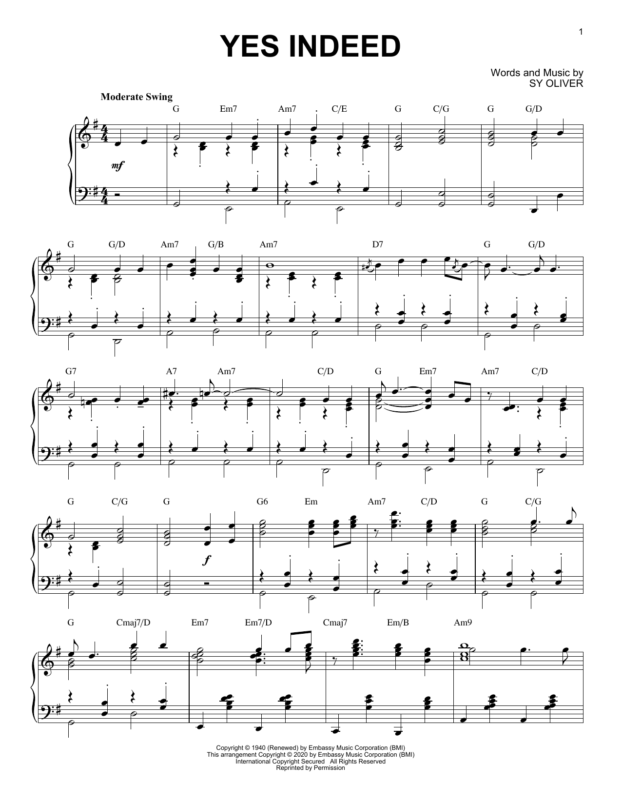Partition piano Yes Indeed [Jazz version] (arr. Brent Edstrom) de Sy Oliver - Piano Solo