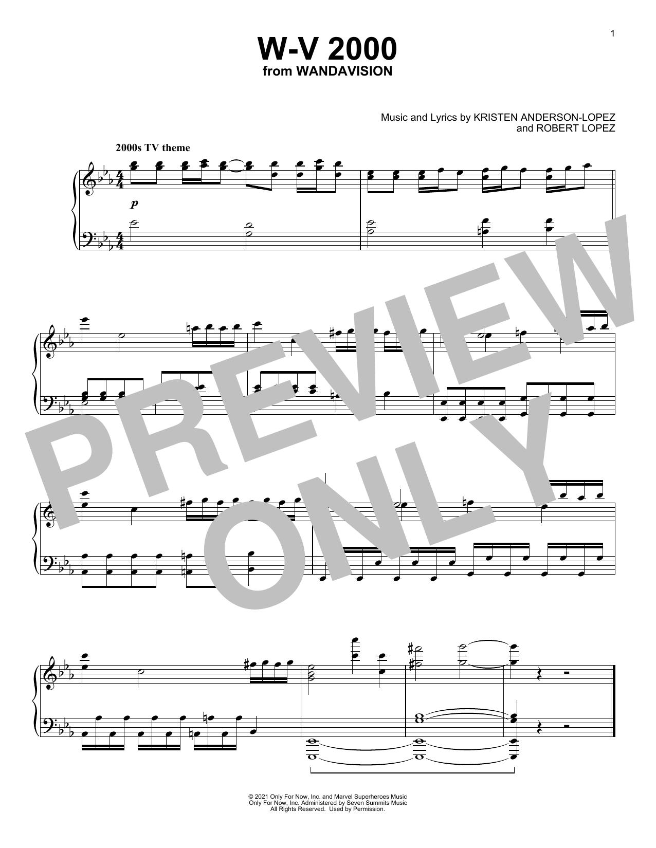 Partition piano W-V 2000 (from WandaVision) de Kristen Anderson-Lopez & Robert Lopez - Piano Solo