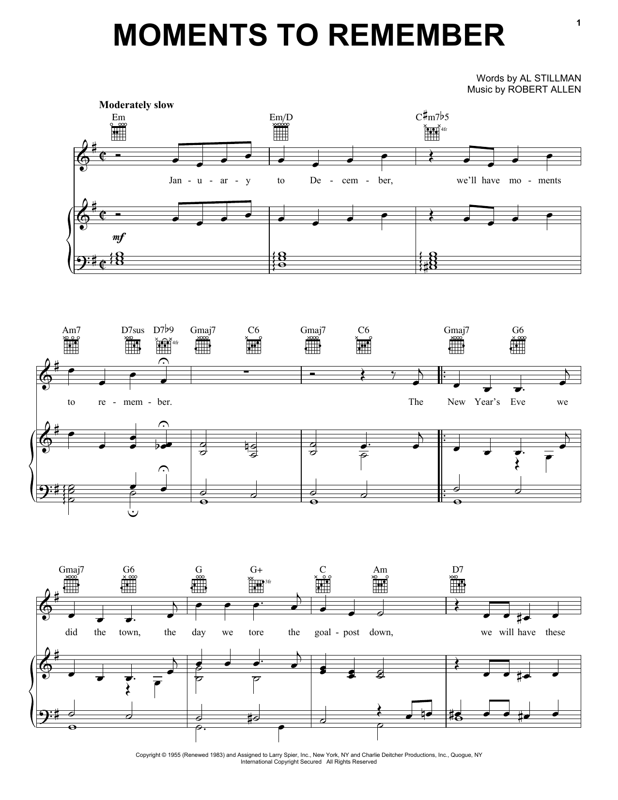Moments To Remember (Piano, Vocal & Guitar (Right-Hand Melody))