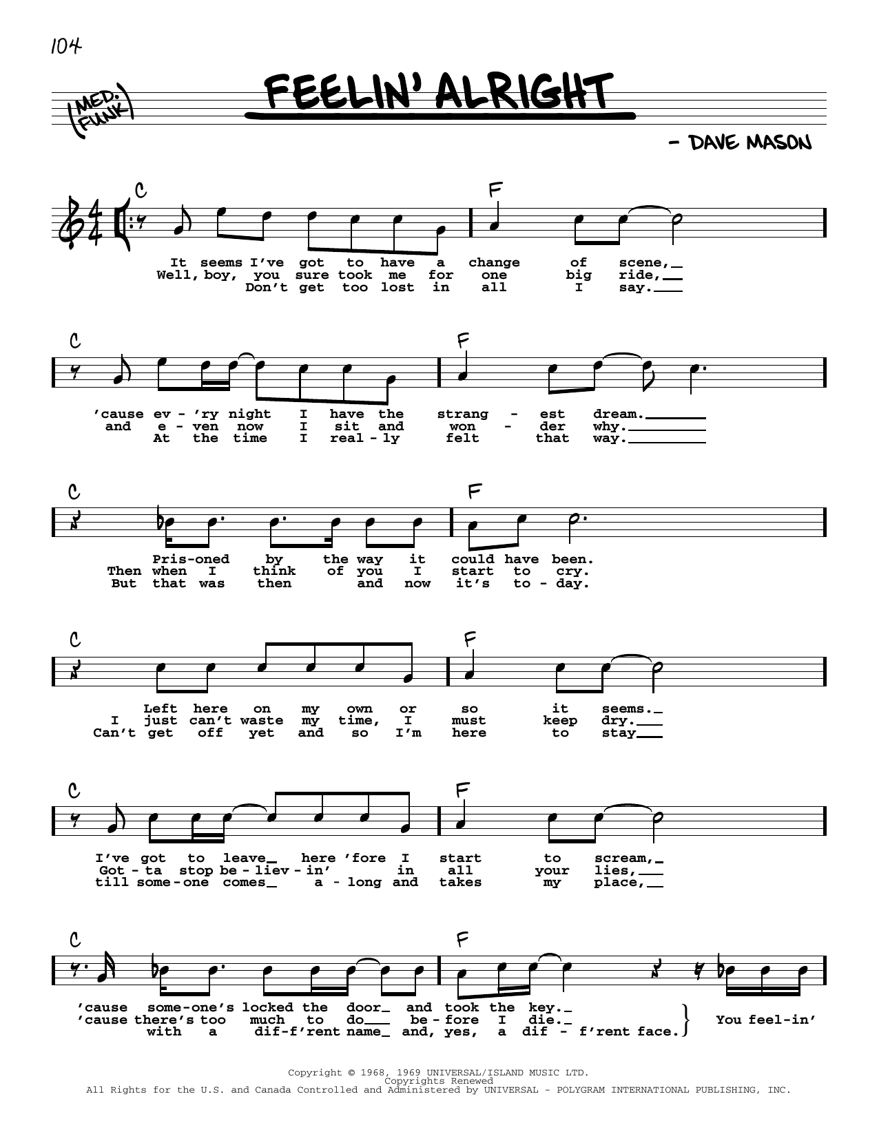 Feelin' Alright Sheet Music