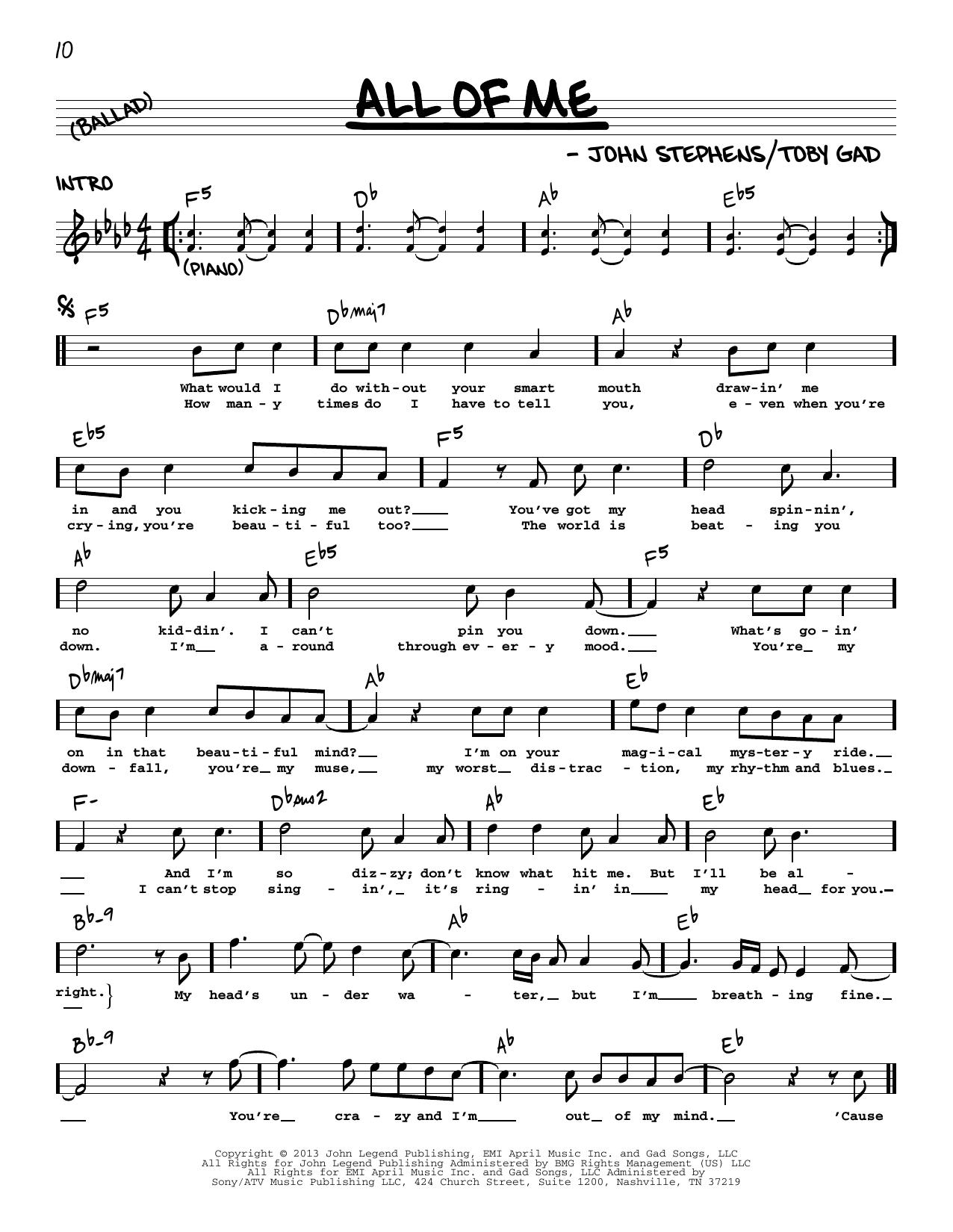 All Of Me Sheet Music   John Legend   Real Book – Melody, Lyrics & Chords
