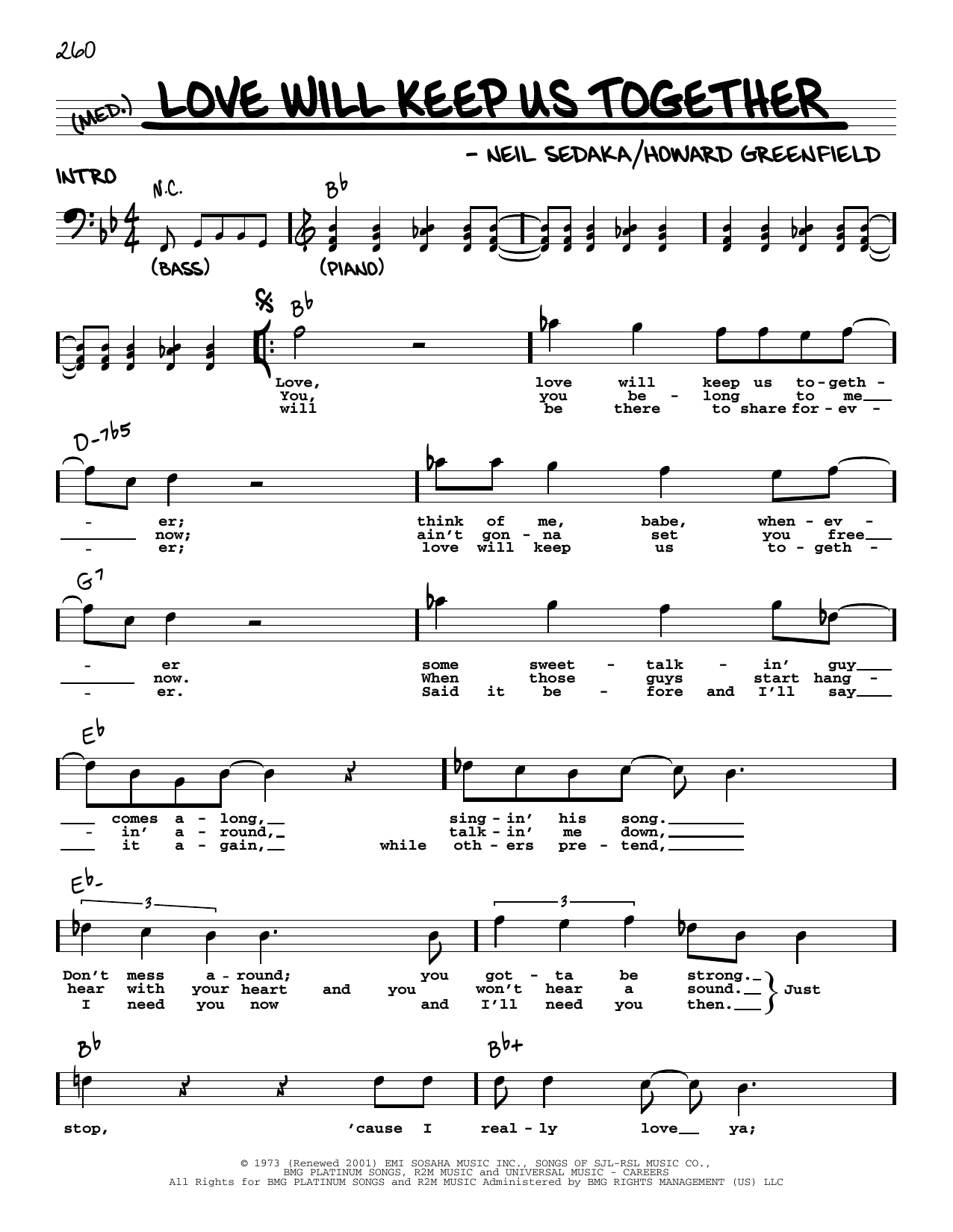 Love Will Keep Us Together Sheet Music   The Captain & Tennille   Real Book  – Melody, Lyrics & Chords