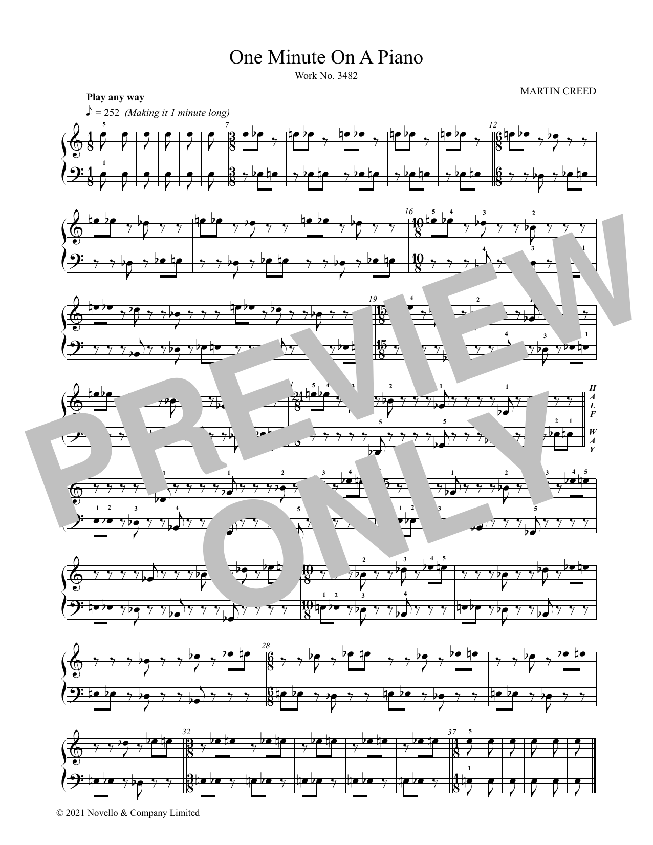 One Minute On A Piano Sheet Music