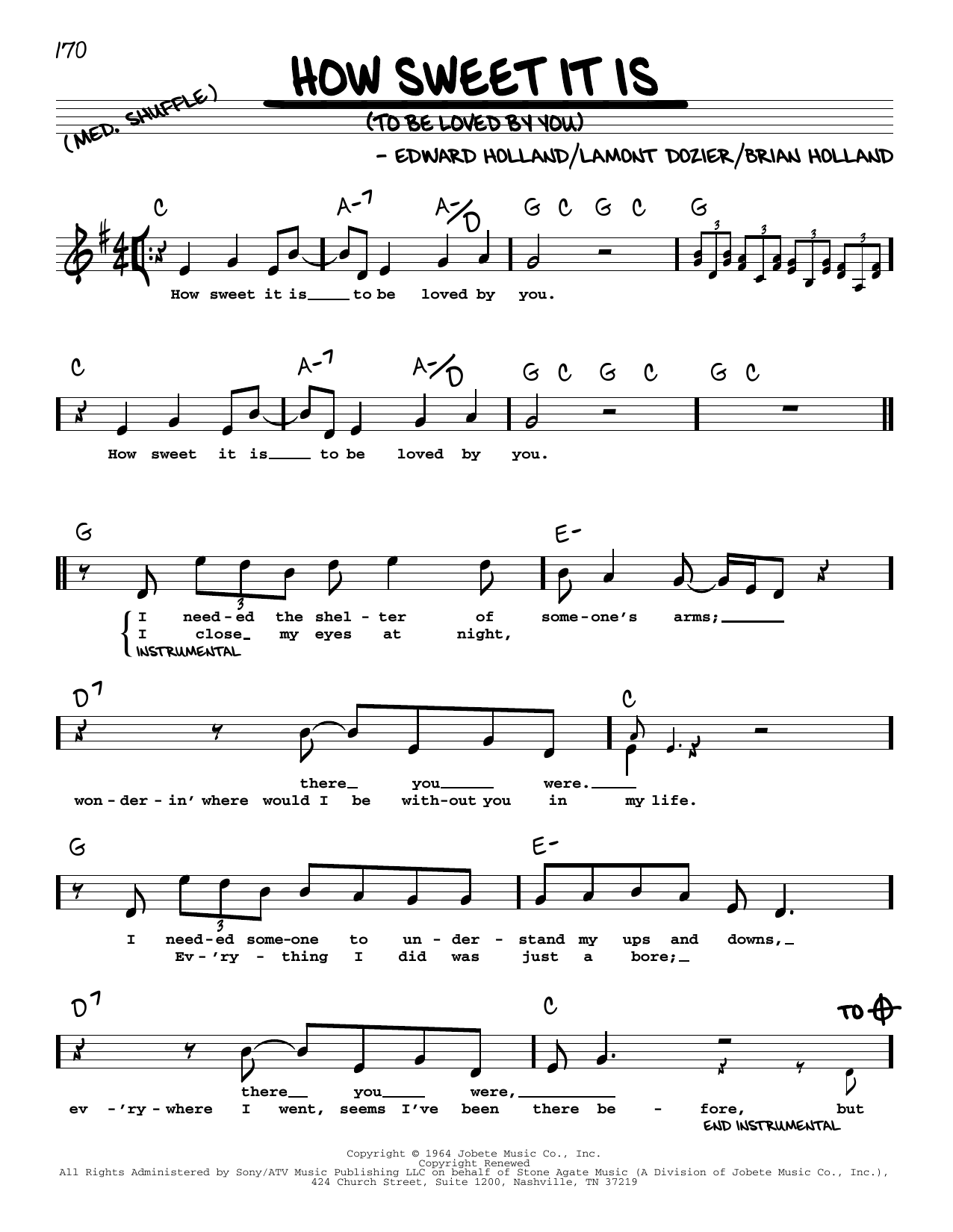 How Sweet It Is (To Be Loved By You) Sheet Music