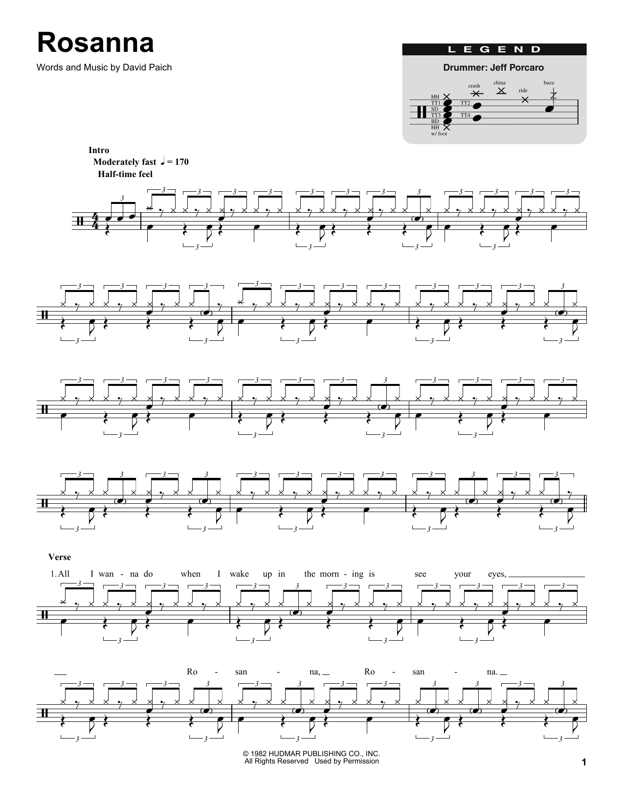 Rosanna by Toto Piano, Vocal & Guitar (Right-Hand Melody) Digital Sheet  Music
