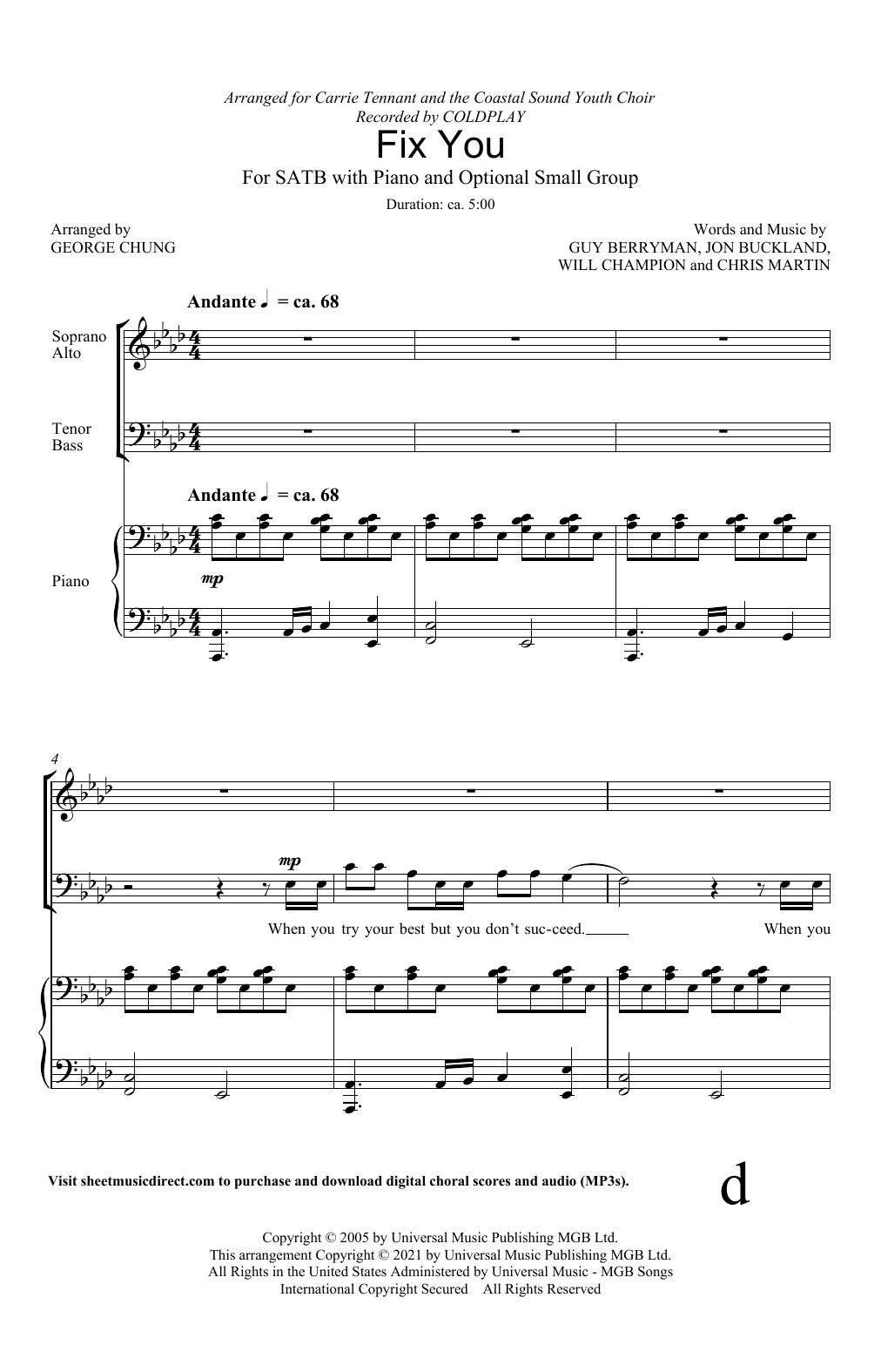 Fix You (arr. George Chung) Sheet Music