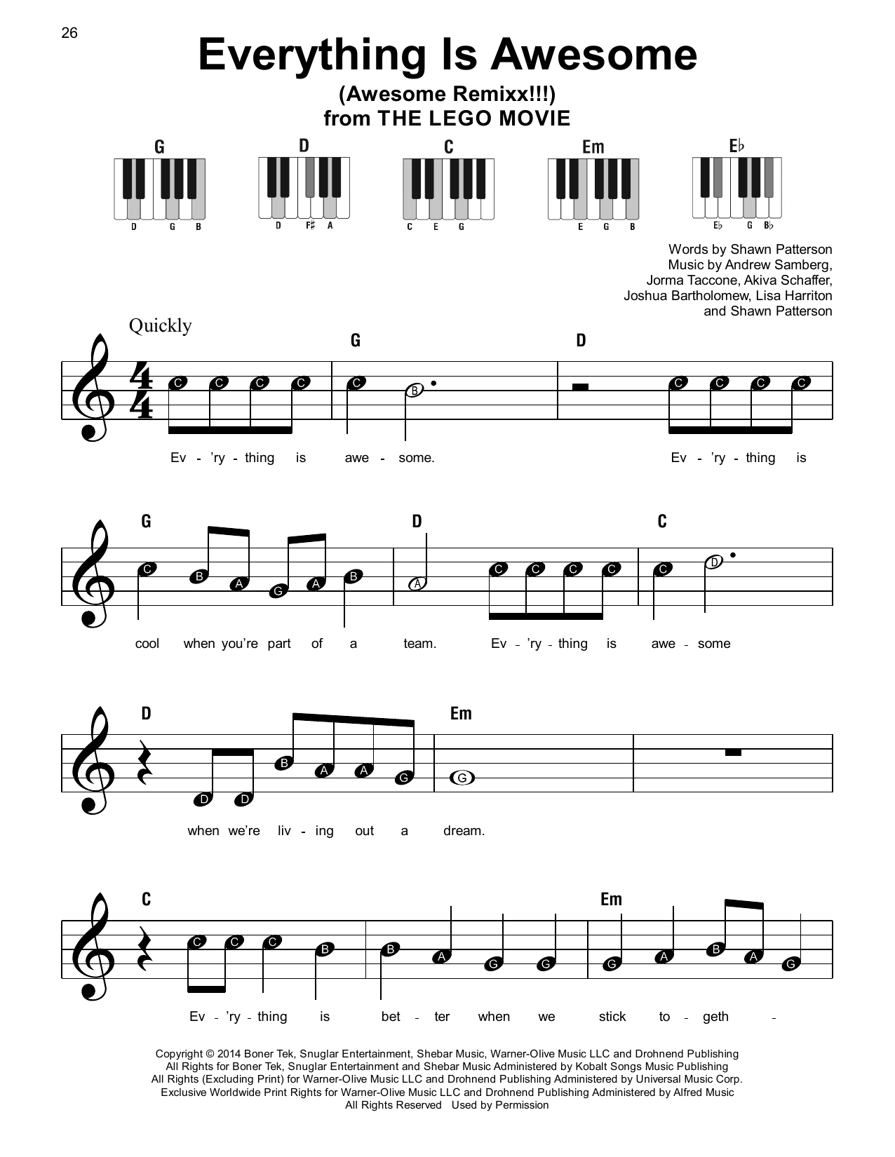Everything Is Awesome (from The Lego Movie) (feat. The Lonely Island) Sheet Music