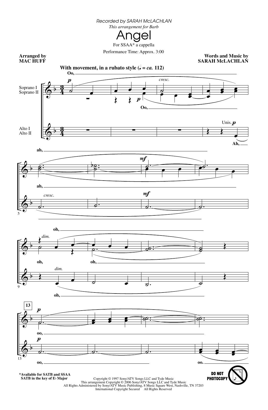 Angel (arr. Mac Huff) (SSA Choir)