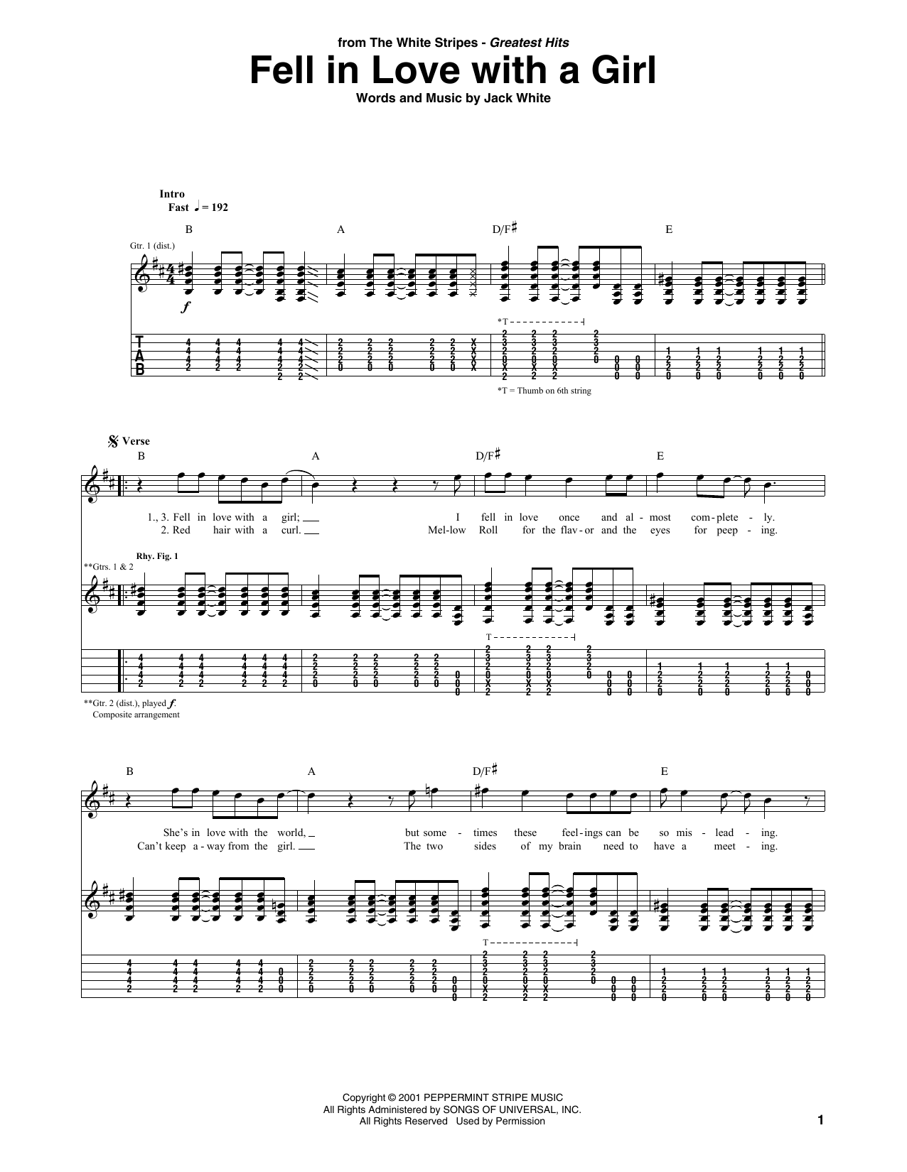 Fell In Love With A Girl Sheet Music