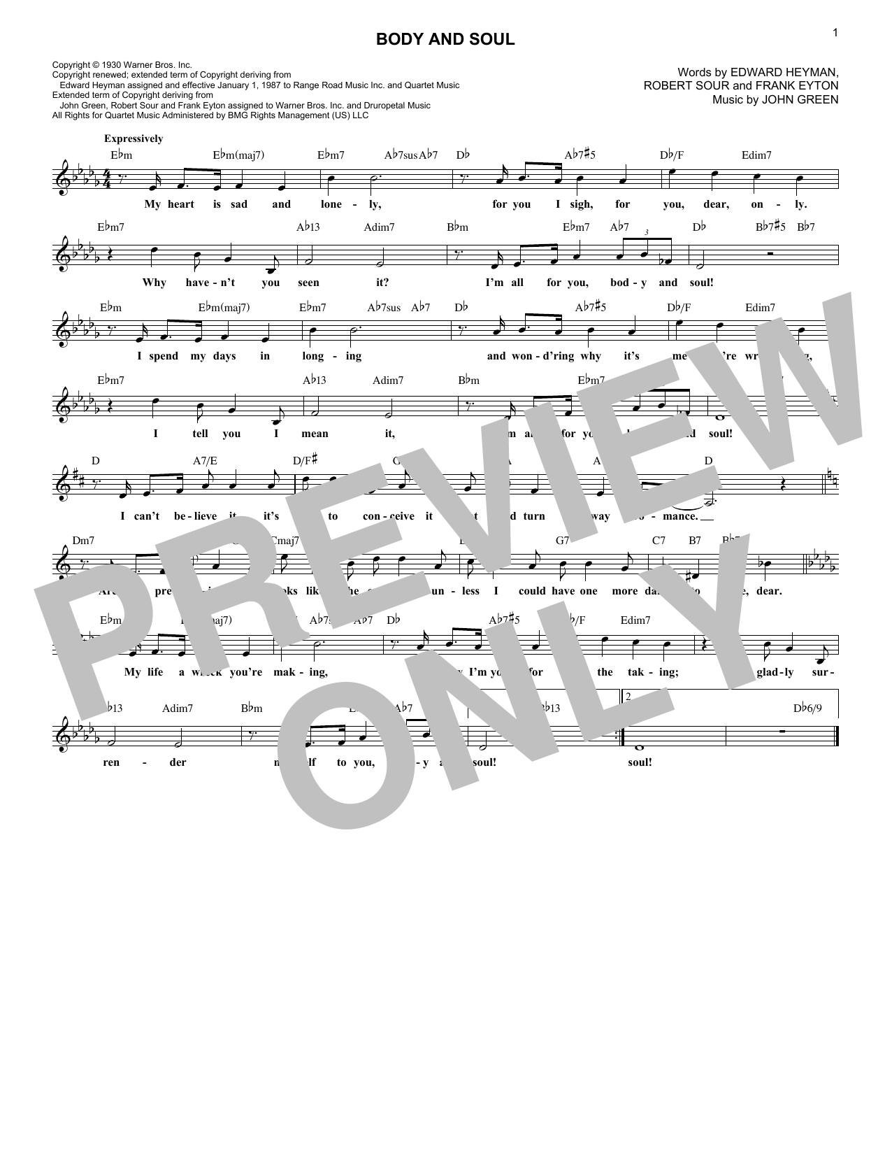 Body And Soul (Lead Sheet / Fake Book)