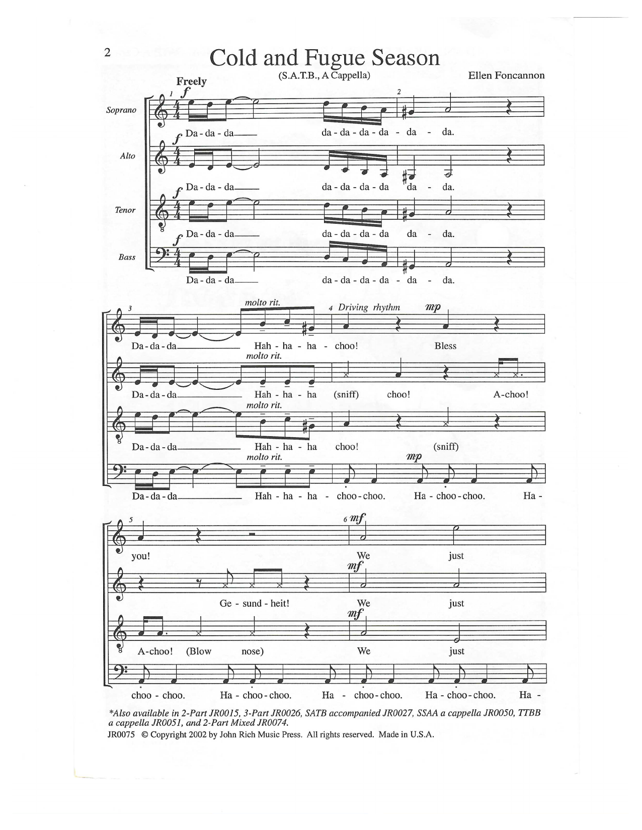Cold and Fugue Season (arr. Ellen Foncannon) Sheet Music