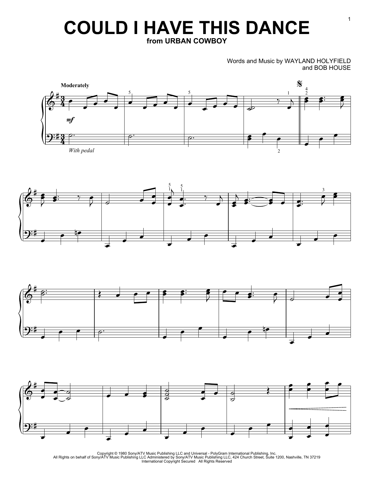 Could I Have This Dance (Piano Solo)