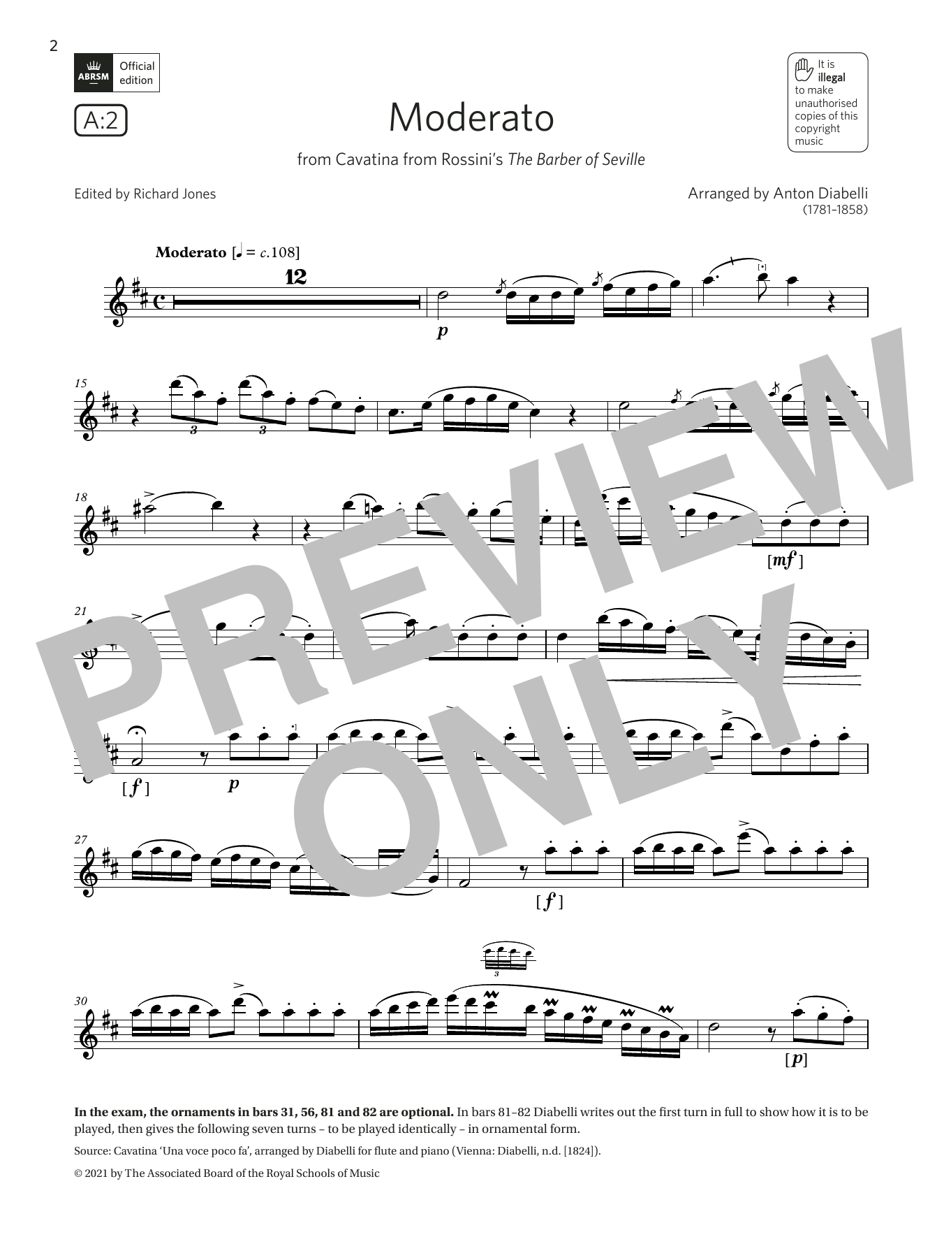 Moderato (from Rossini's The Barber of Seville)(Grade 7 A2 from the ABRSM Flute syllabus from 2022) Sheet Music