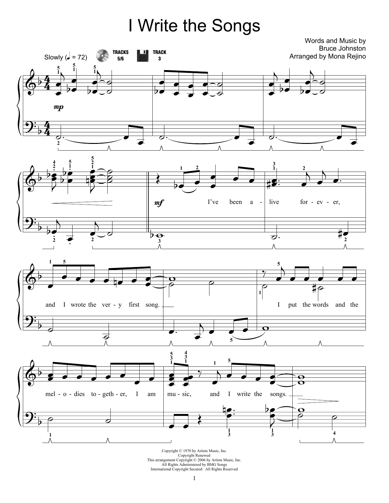 I Write The Songs Sheet Music