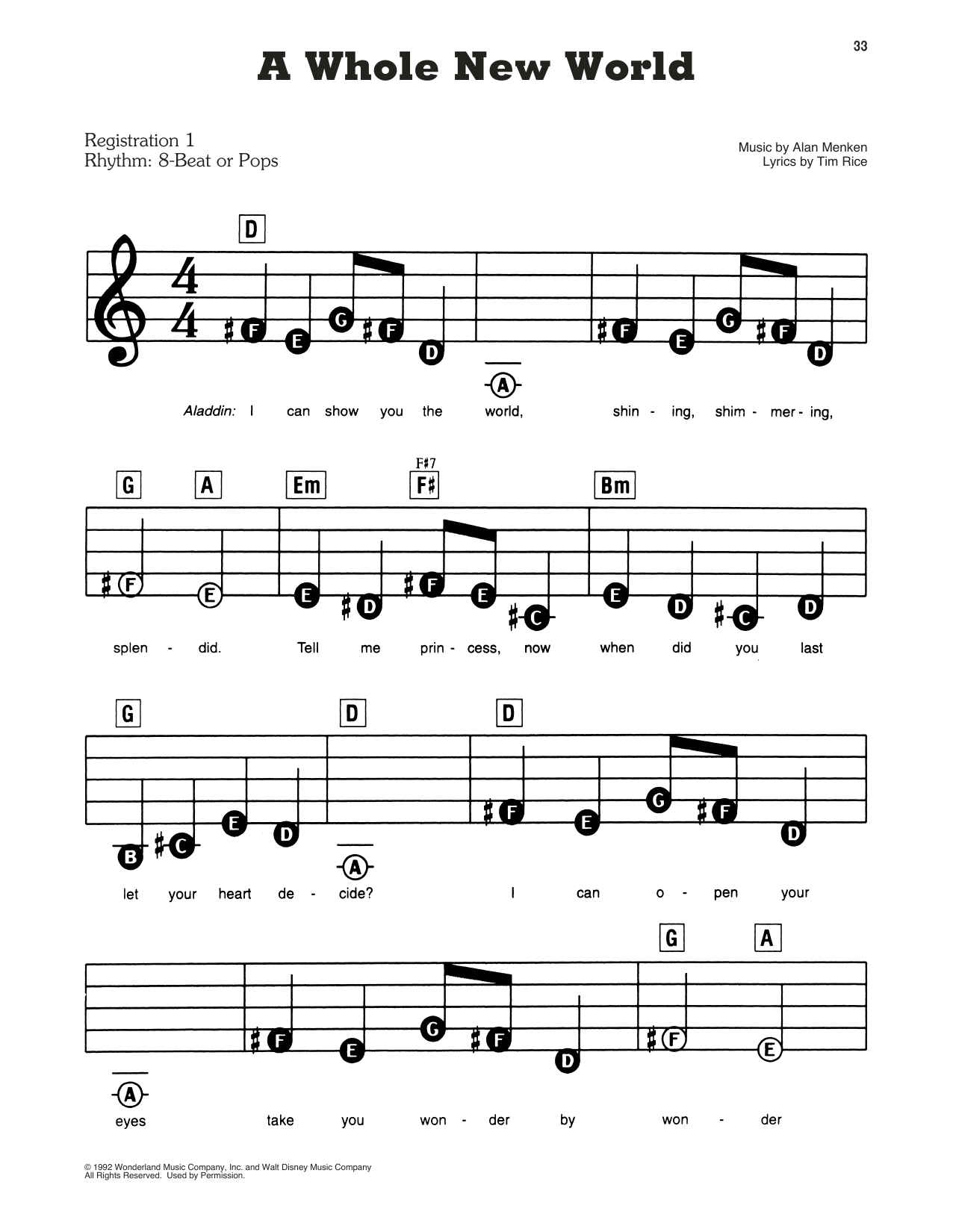 A Whole New World Sheet Music