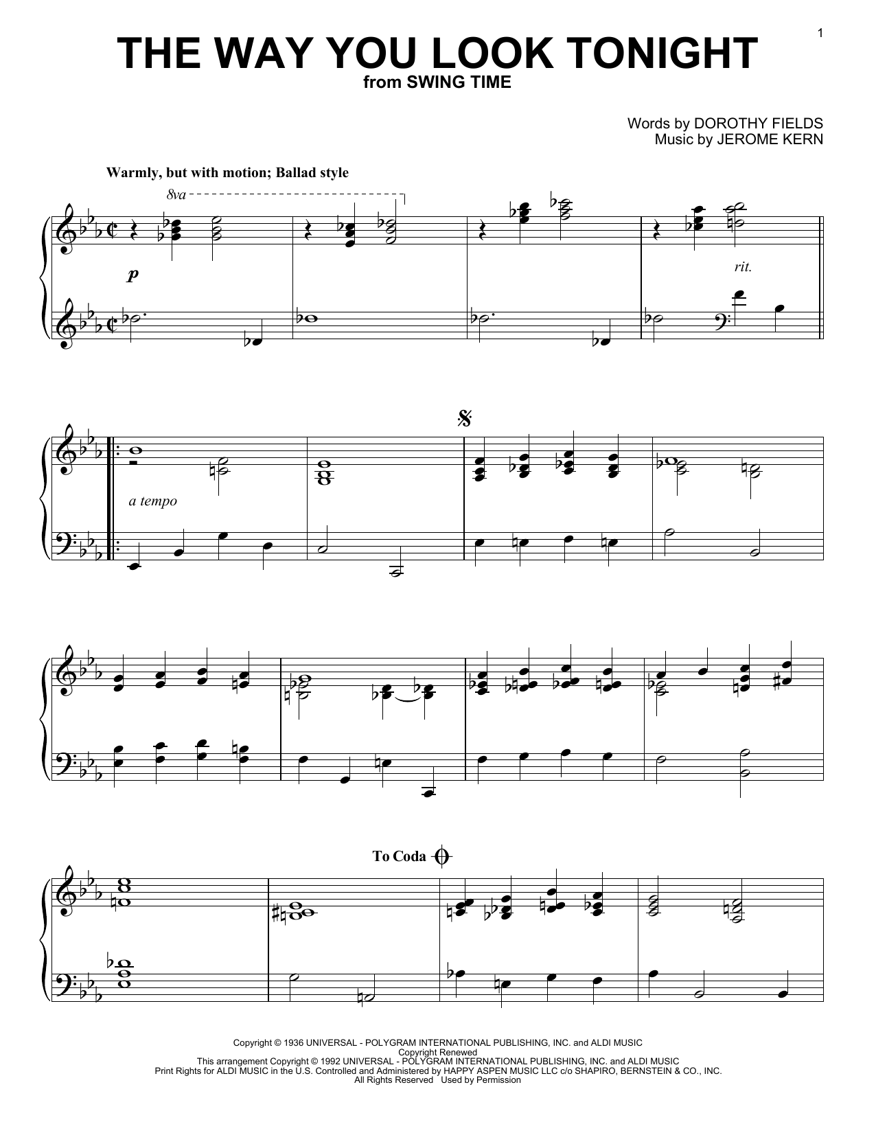 Partition piano The Way You Look Tonight de Jerome Kern - Piano Solo