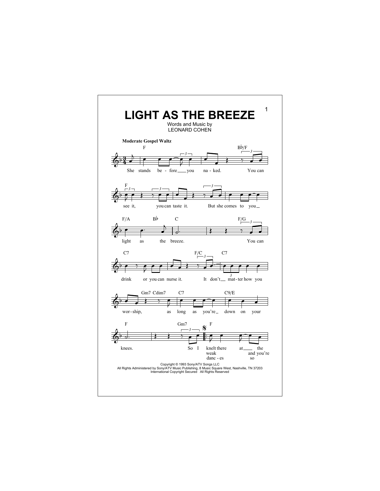 Light As The Breeze (Lead Sheet / Fake Book)