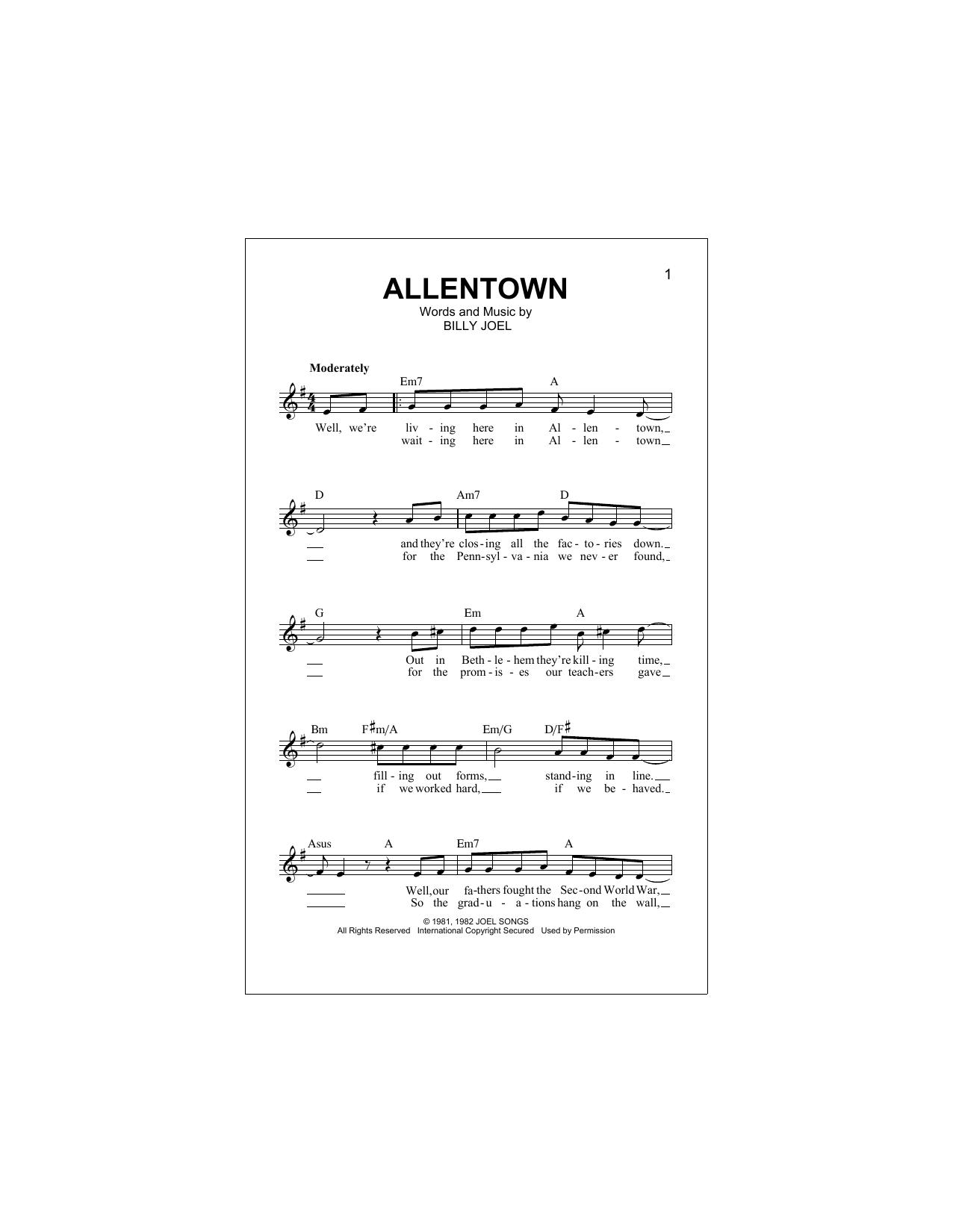 Allentown (Lead Sheet / Fake Book)