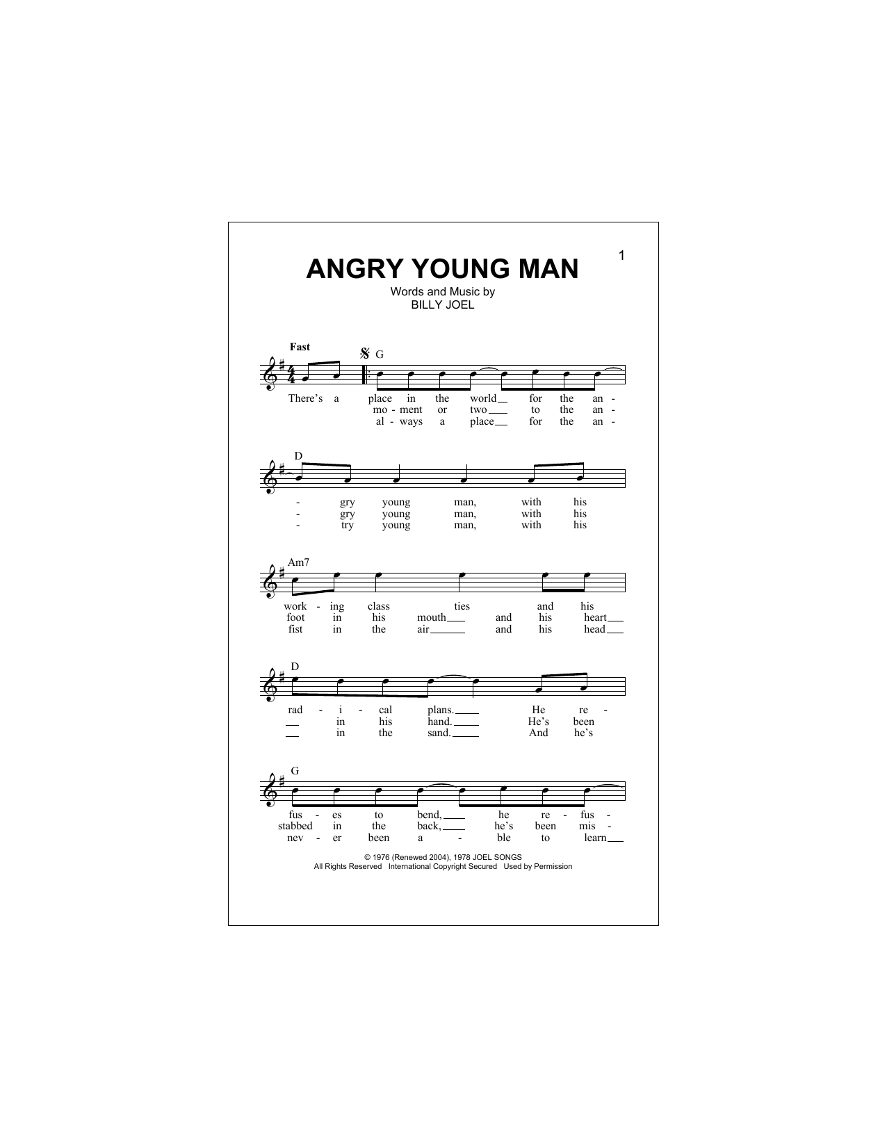 Angry Young Man (Lead Sheet / Fake Book)