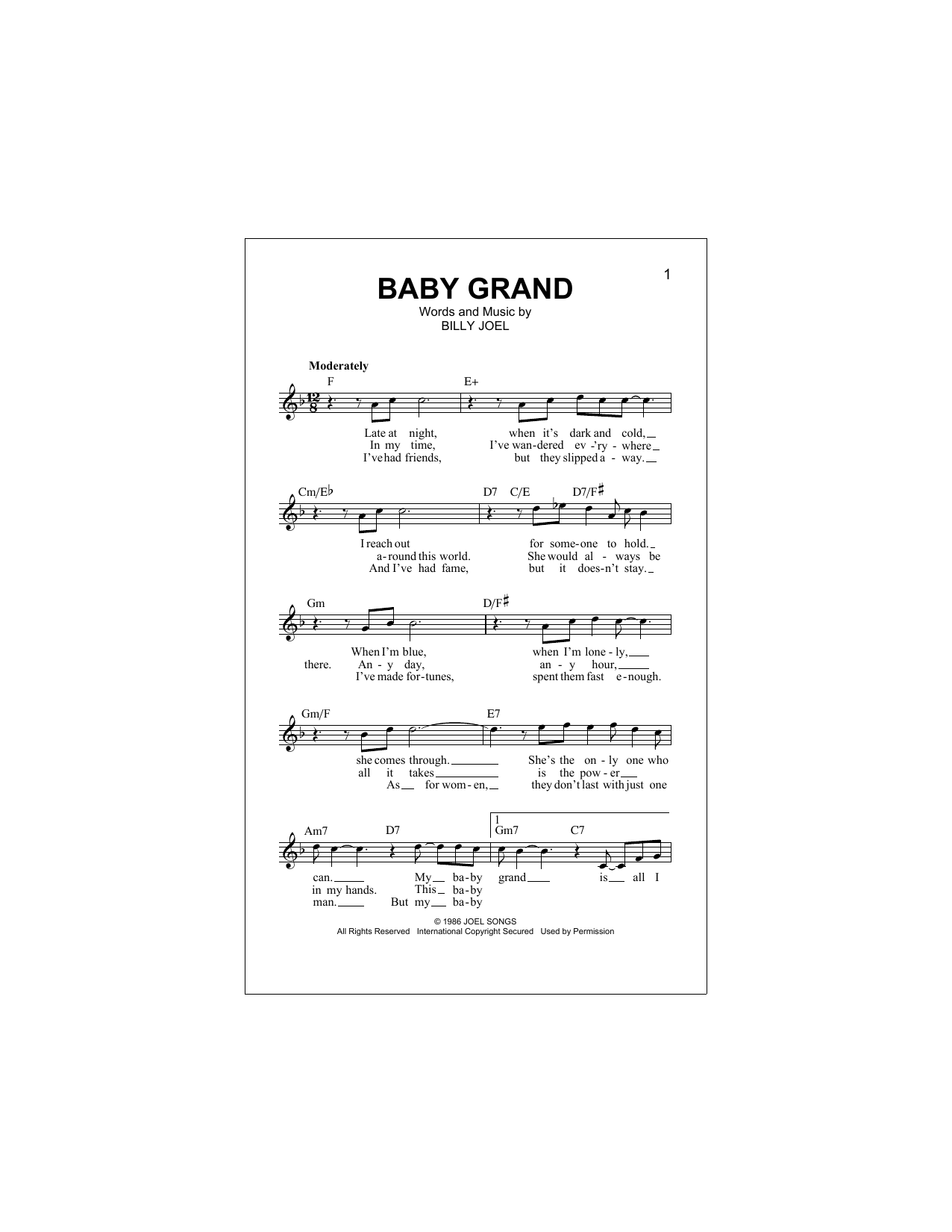Baby Grand Sheet Music Billy Joel Lead Sheet Fake Book