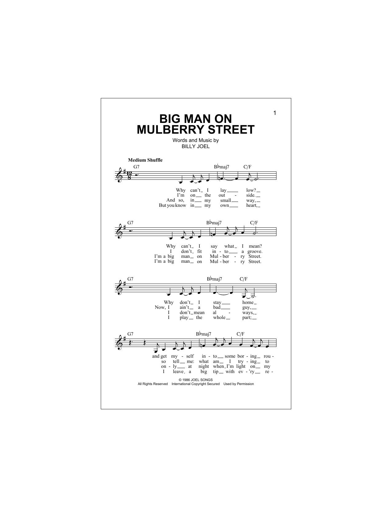 Big Man On Mulberry Street (Lead Sheet / Fake Book)