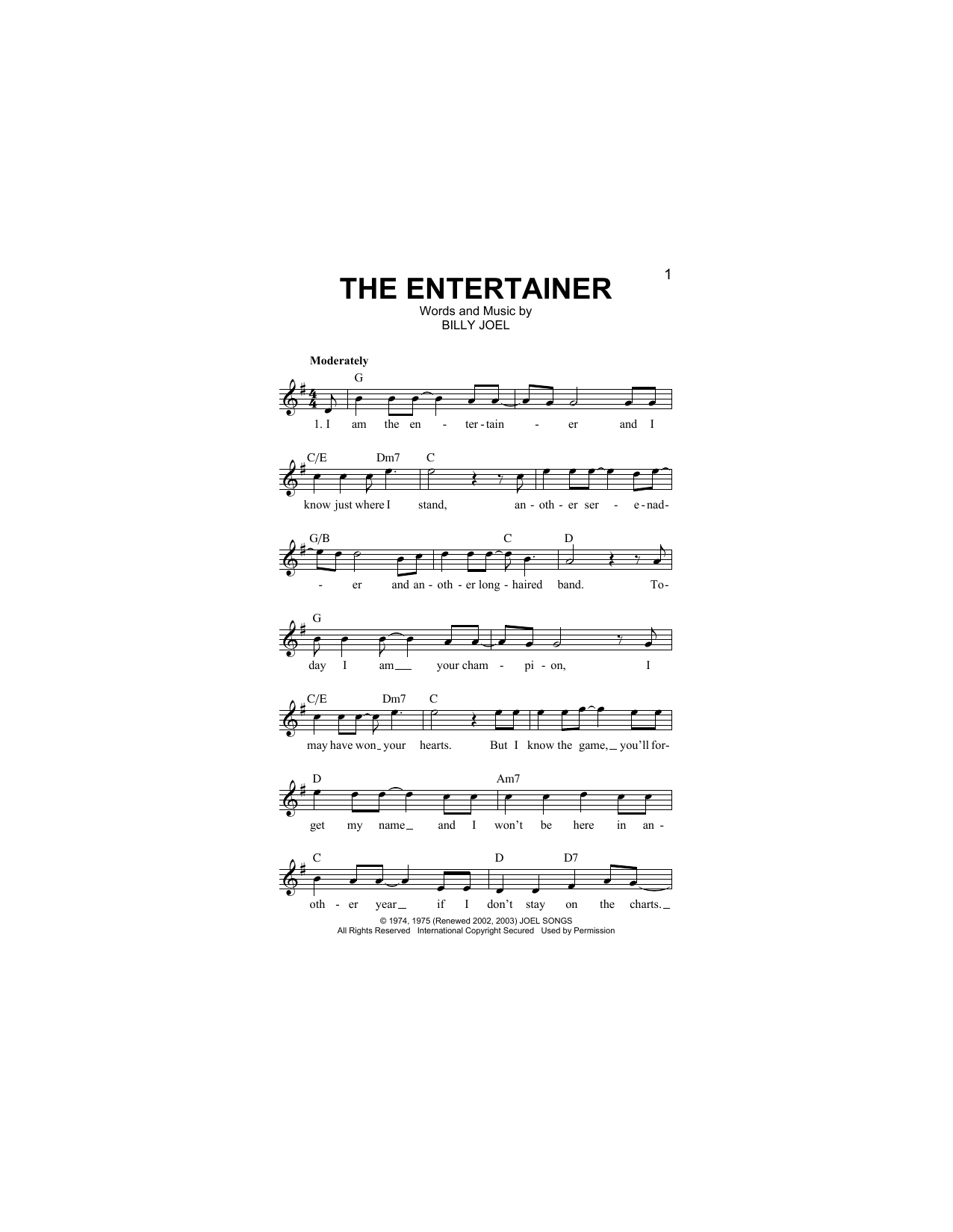 The Entertainer (Lead Sheet / Fake Book)