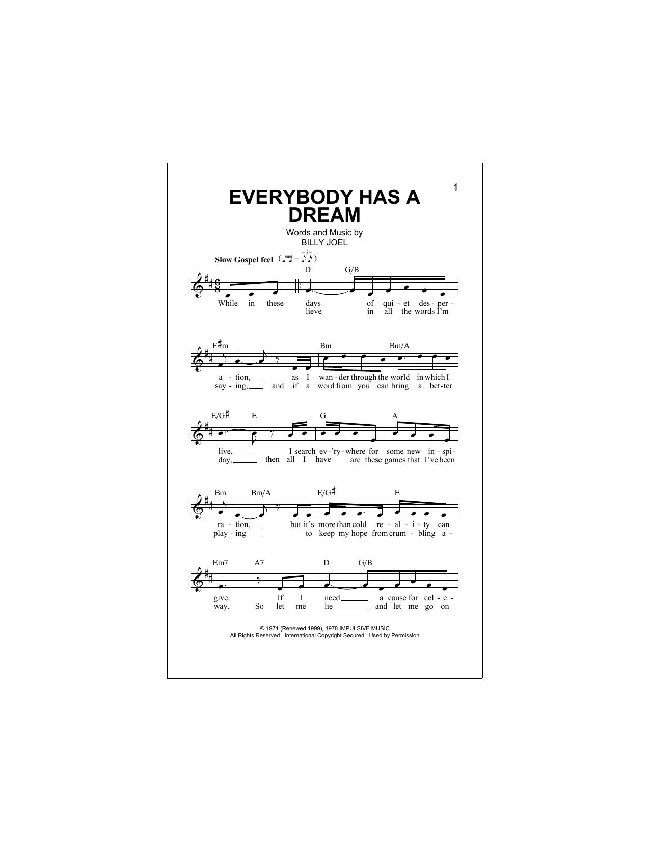 Everybody Has A Dream (Lead Sheet / Fake Book)