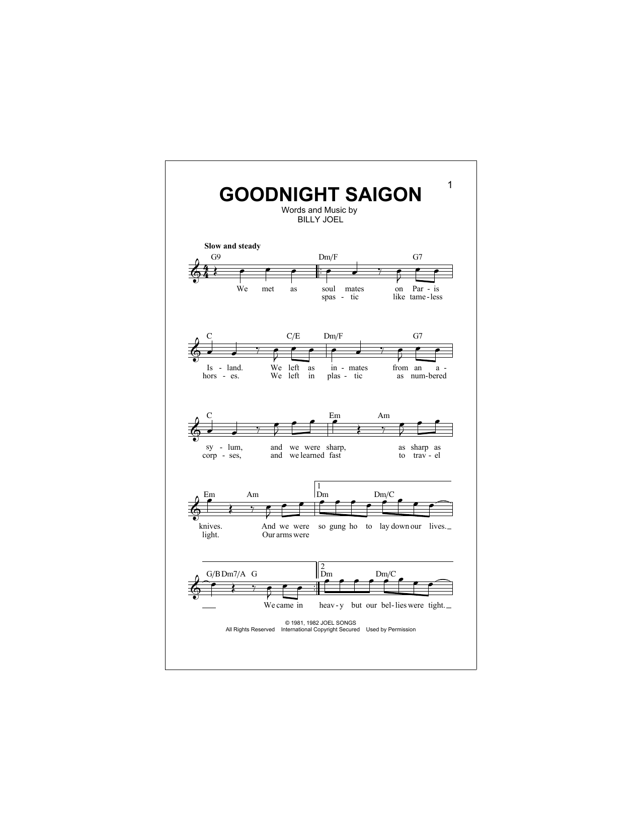 Goodnight Saigon Sheet Music