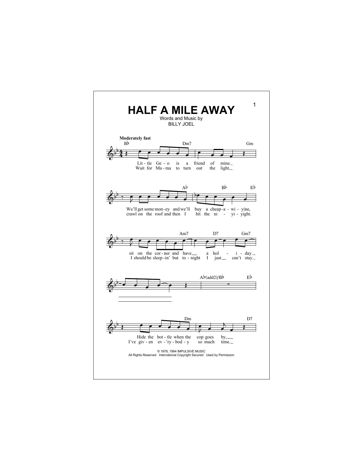 Half A Mile Away Sheet Music