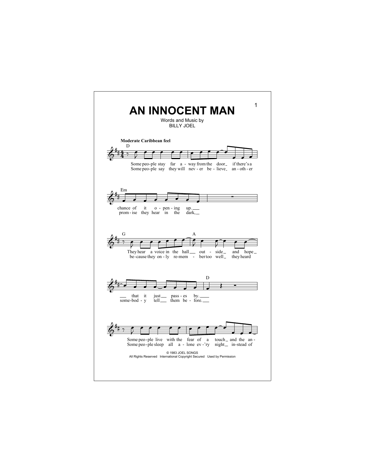 An Innocent Man Sheet Music