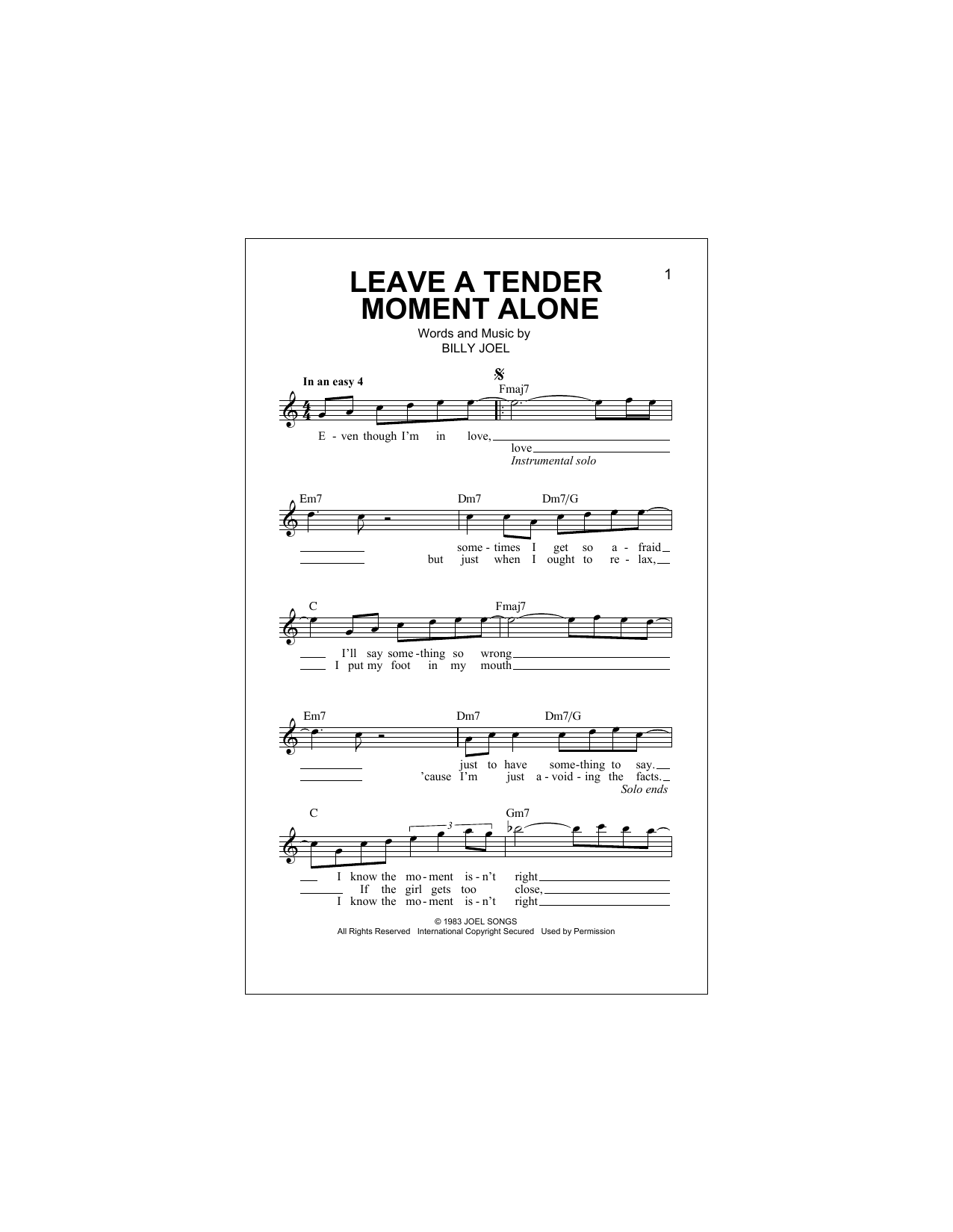 Leave A Tender Moment Alone Sheet Music