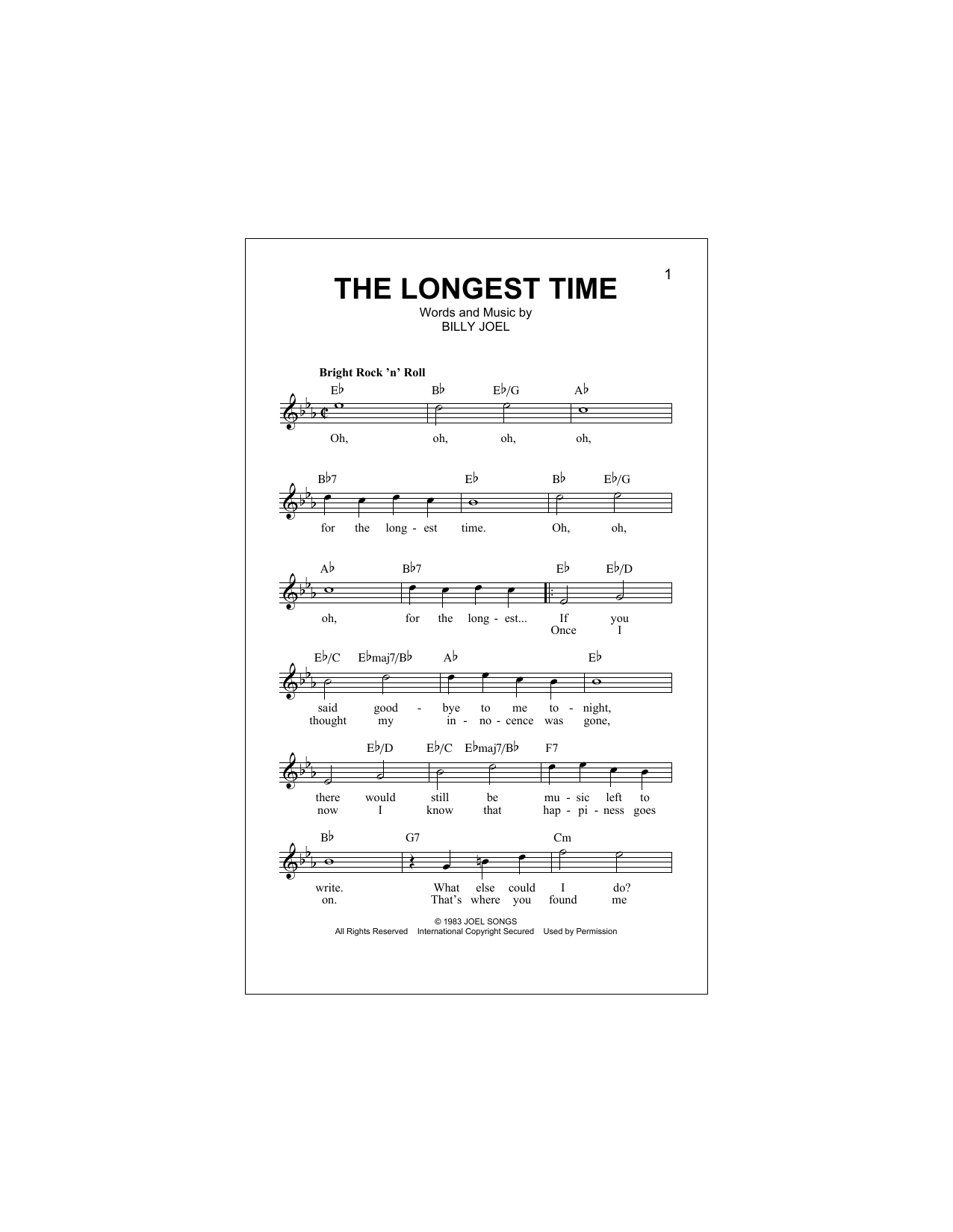 The Longest Time Sheet Music