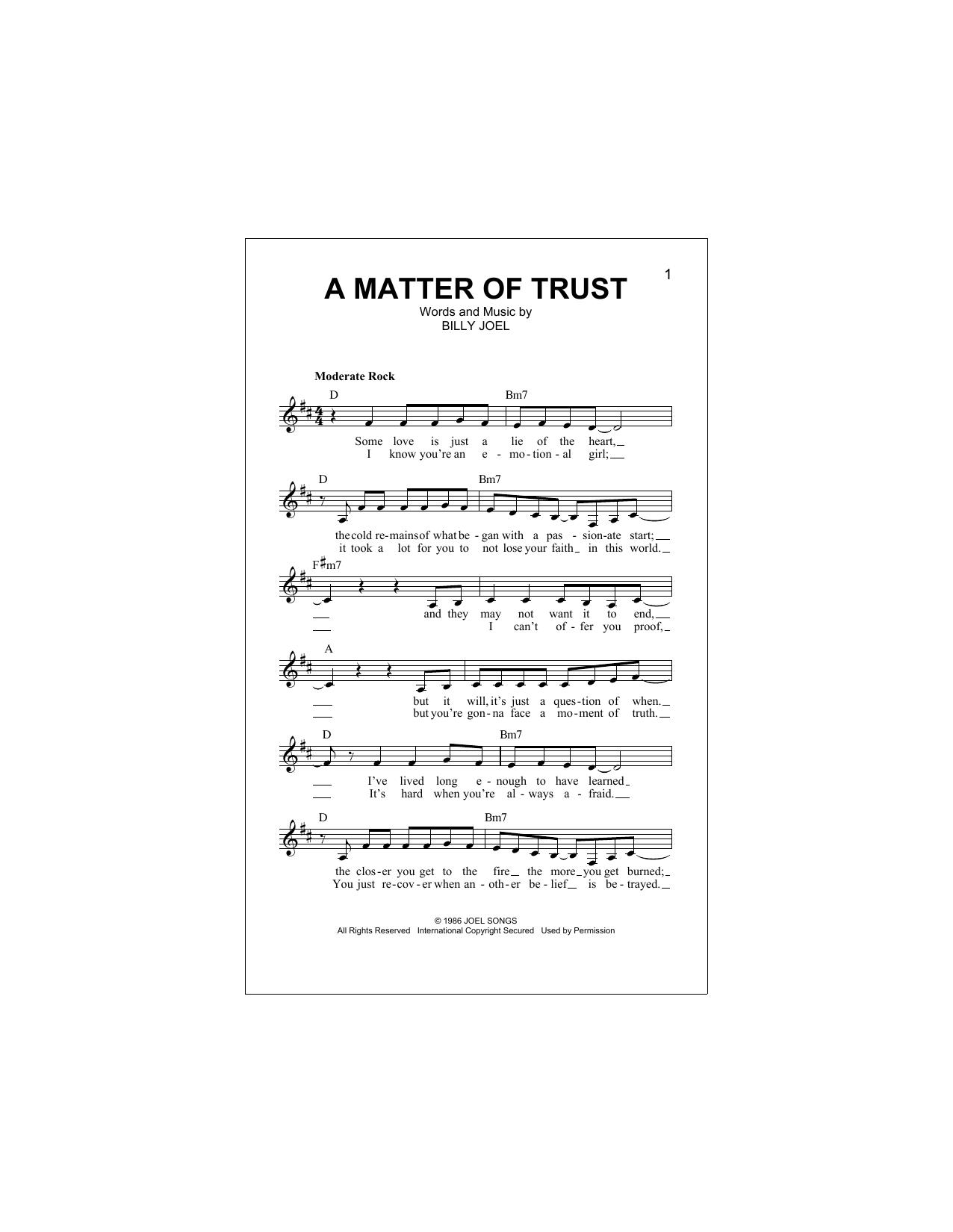 A Matter Of Trust Partituras Digitales