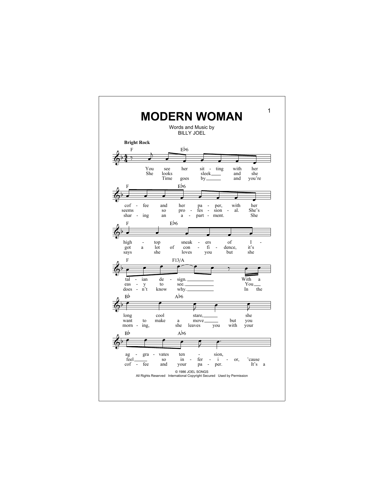 Modern Woman Sheet Music